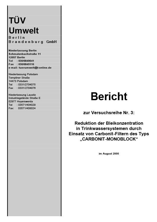 TÜV Bericht zur Reduktion der Bleikonzentration, 2000