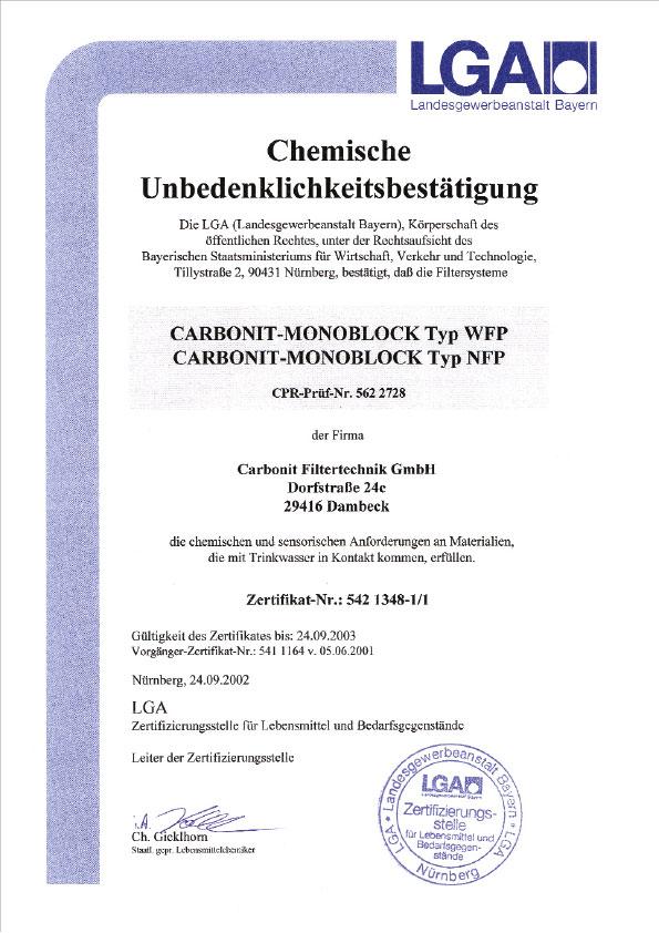 LGA, chemische Unbedenklichkeitsbestätigung, 2002