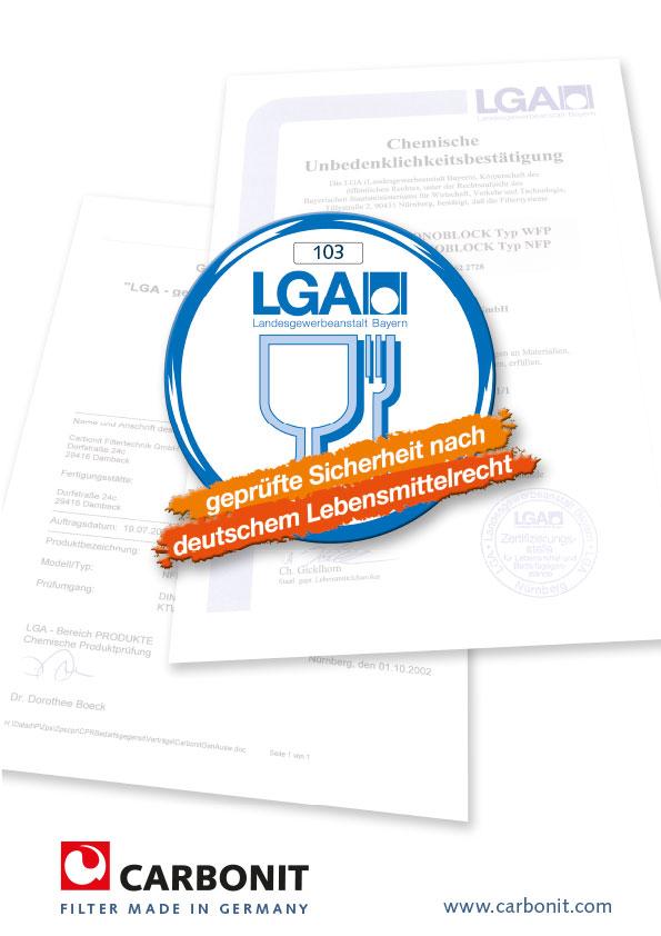 LGA, geprüfte Sicherheit nach dt. Lebensmittelrecht