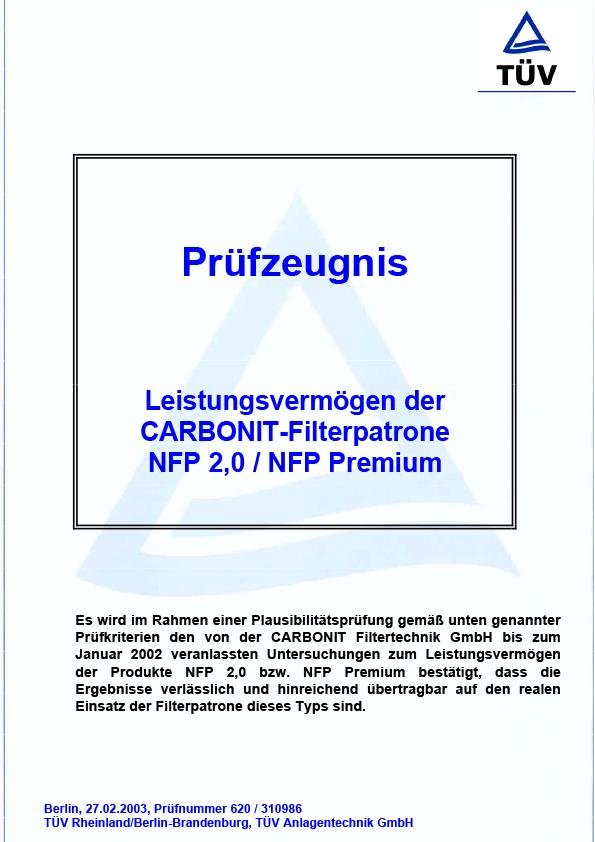 TÜV, Prüfzeugnis zum Leistungsvermögen NFP Premium
