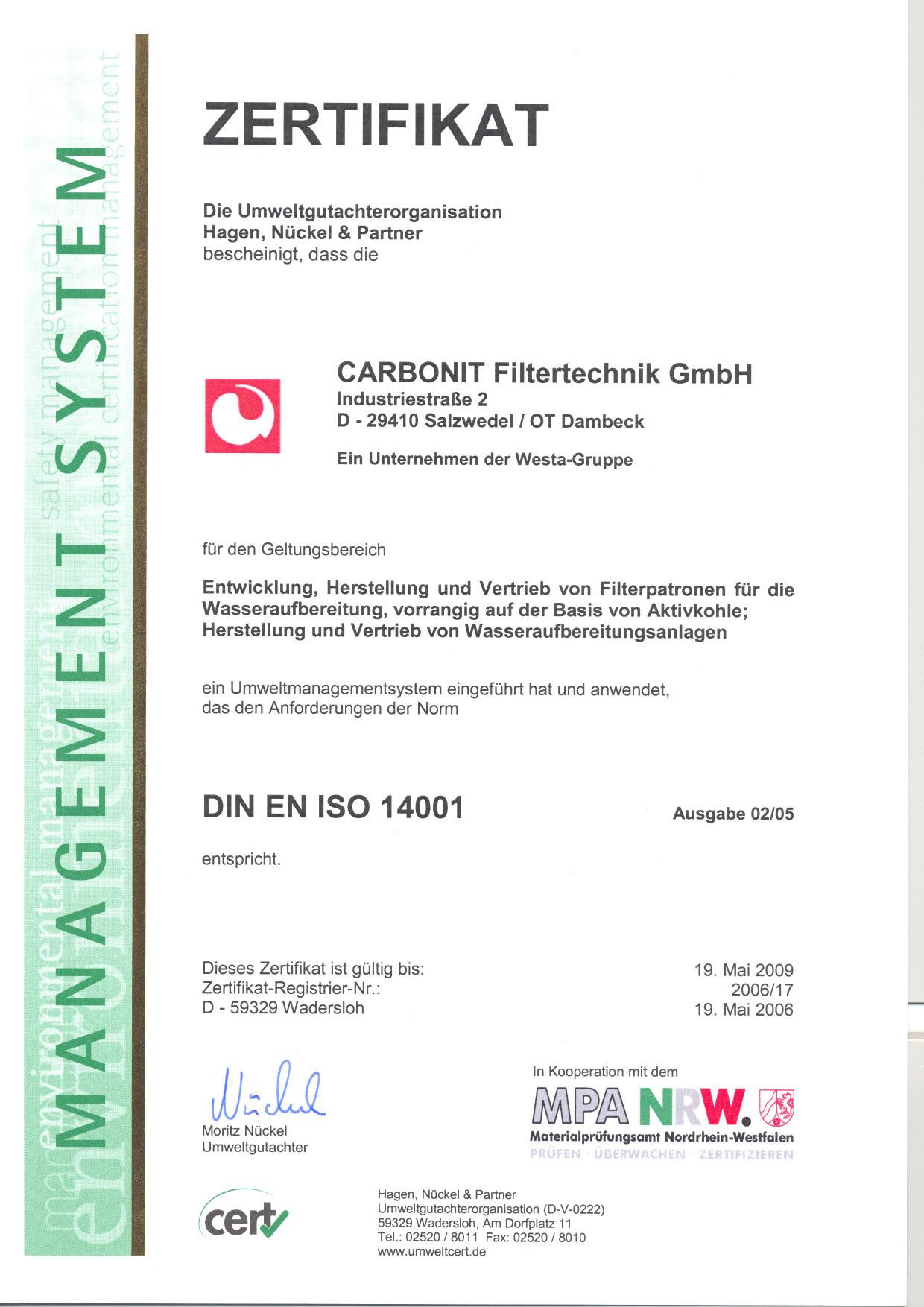 Umweltmanagement,DIN EN ISO 14001 Zertifikat