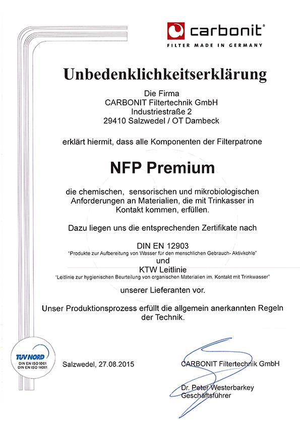 TÜV Nord,Unbedenklichkeitserklärung NFP,2015
