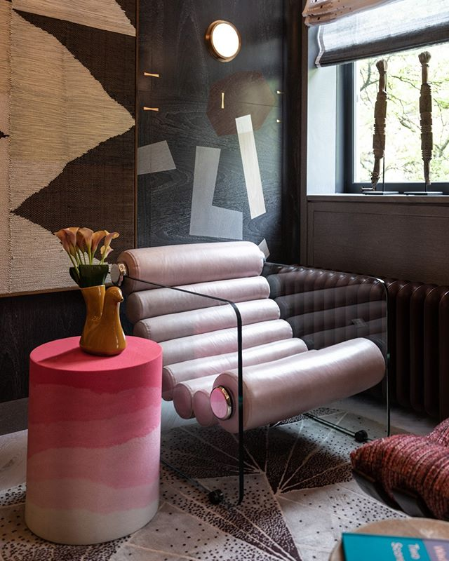Highlights from the #kipsbayshowhouse19 ⠀ ⠀ The Pink Dragon Study by @katherinenewmandesign  custom paneled wood wall, ceiling hung bronze and leather shelf system, with pieces by @iamfm, @atelierfevrier, and @rogangregory⠀ #bradsteinphoto⠀ . ⠀ .⠀ .⠀ .⠀ #interiordesign #design #homedecor #designer #home #architecture #interior #decor #art #homedesign  #style #homesweethome #luxurylifestyle #antiques #collection  #instagood #interiordecoration #instahome #interiordesigner #love #instagood #photography #follow #art #beautiful #happy ⠀