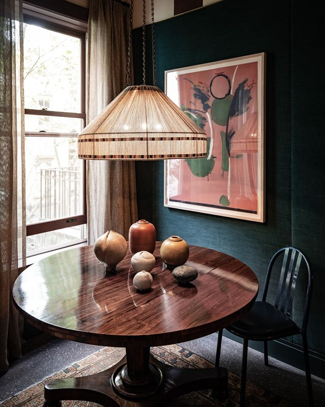 Highlights from the #kipsbayshowhouse19 ⠀ ⠀ Pappas Miron Design's sitting room. Teal upholstery almost ceiling gives a vivid contrast to the handwoven Bakshaish carpet from @averyanddash Collections, and Scandinavian ceramics gather together on a burl dining table from@vnvintagemodern. ⠀ ⠀ ⠀ @KBShowhouse  #KipsBayShowhouse19 photo by @bradsteinphoto⠀ . ⠀ .⠀ .⠀ .⠀ #interiordesign #design #homedecor #designer #home #architecture #interior #decor #art #homedesign #house #style #homesweethome #luxurylifestyle #antiques #handmade #instagood #interiordecoration #instahome #interiordesigner #love #instagood #photography #follow #art #beautiful #happy #bradsteinphoto⠀