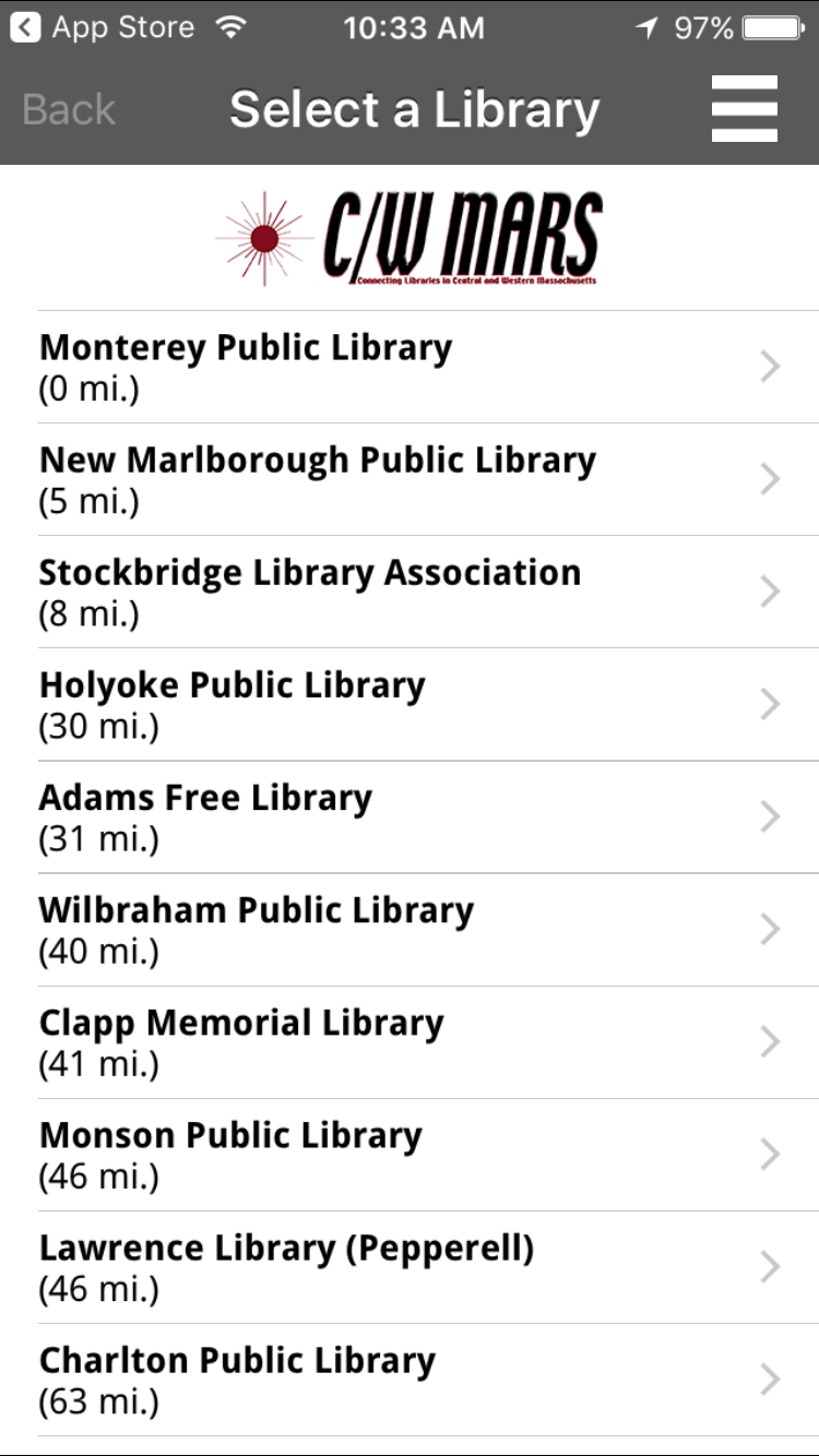 Open the app and select the Monterey Public Library!