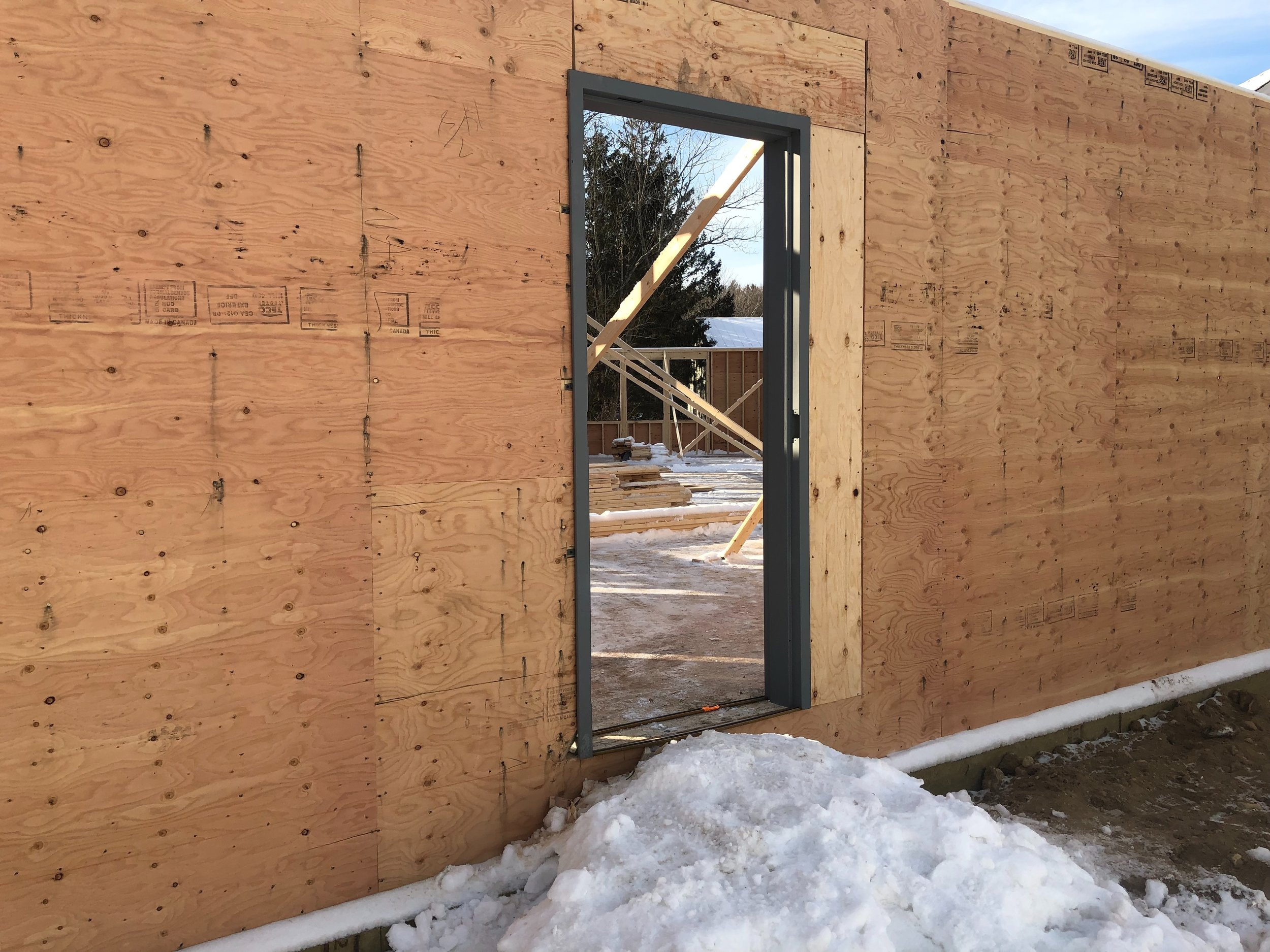 FIRST DOOR FRAME INSTALLED