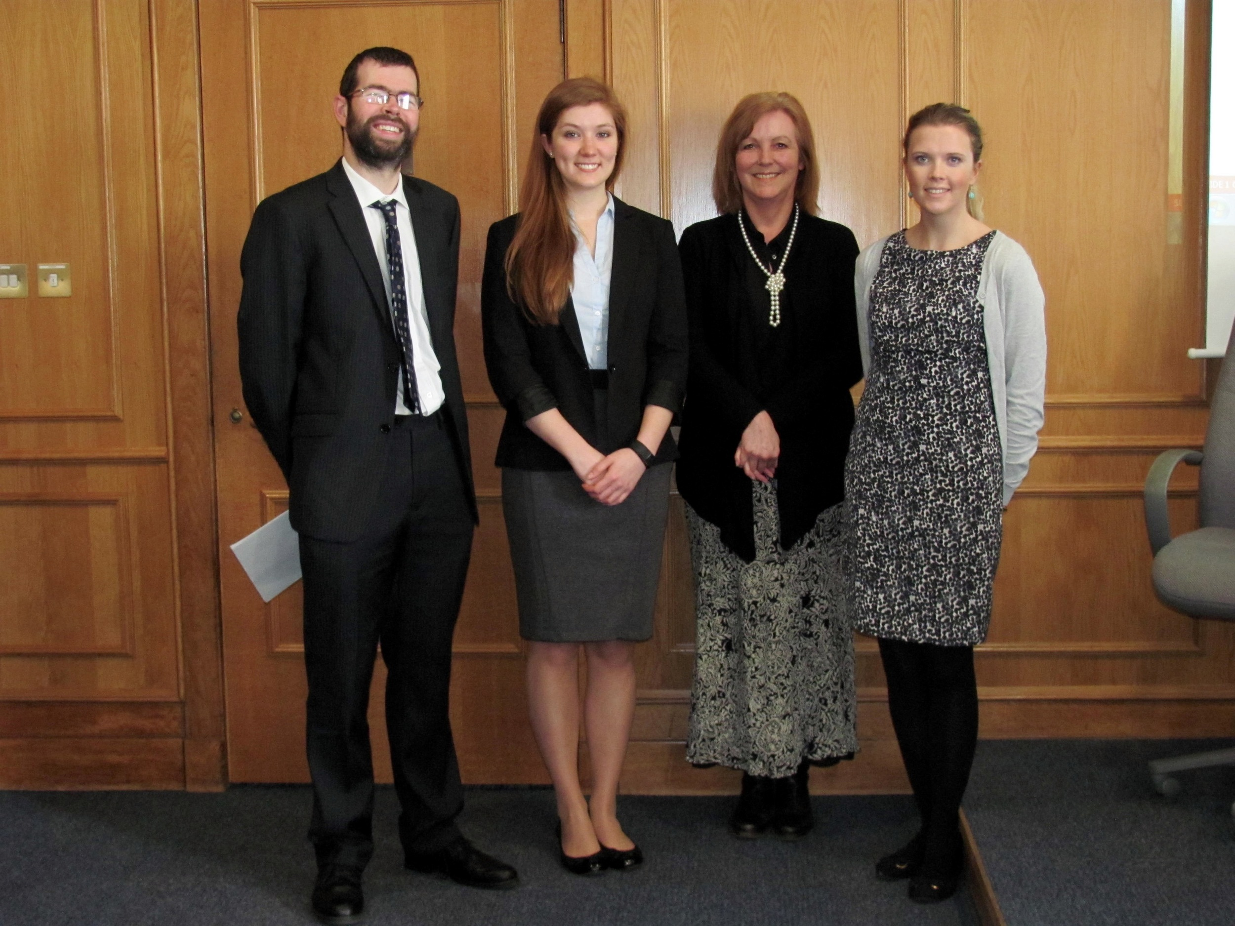 From L: Malcolm Combe (Faculty Director),  Georgia Fotheringham (Deputy Student Director), Julie Price (Guest Speaker)and Lindsay McCormick (Student Director).