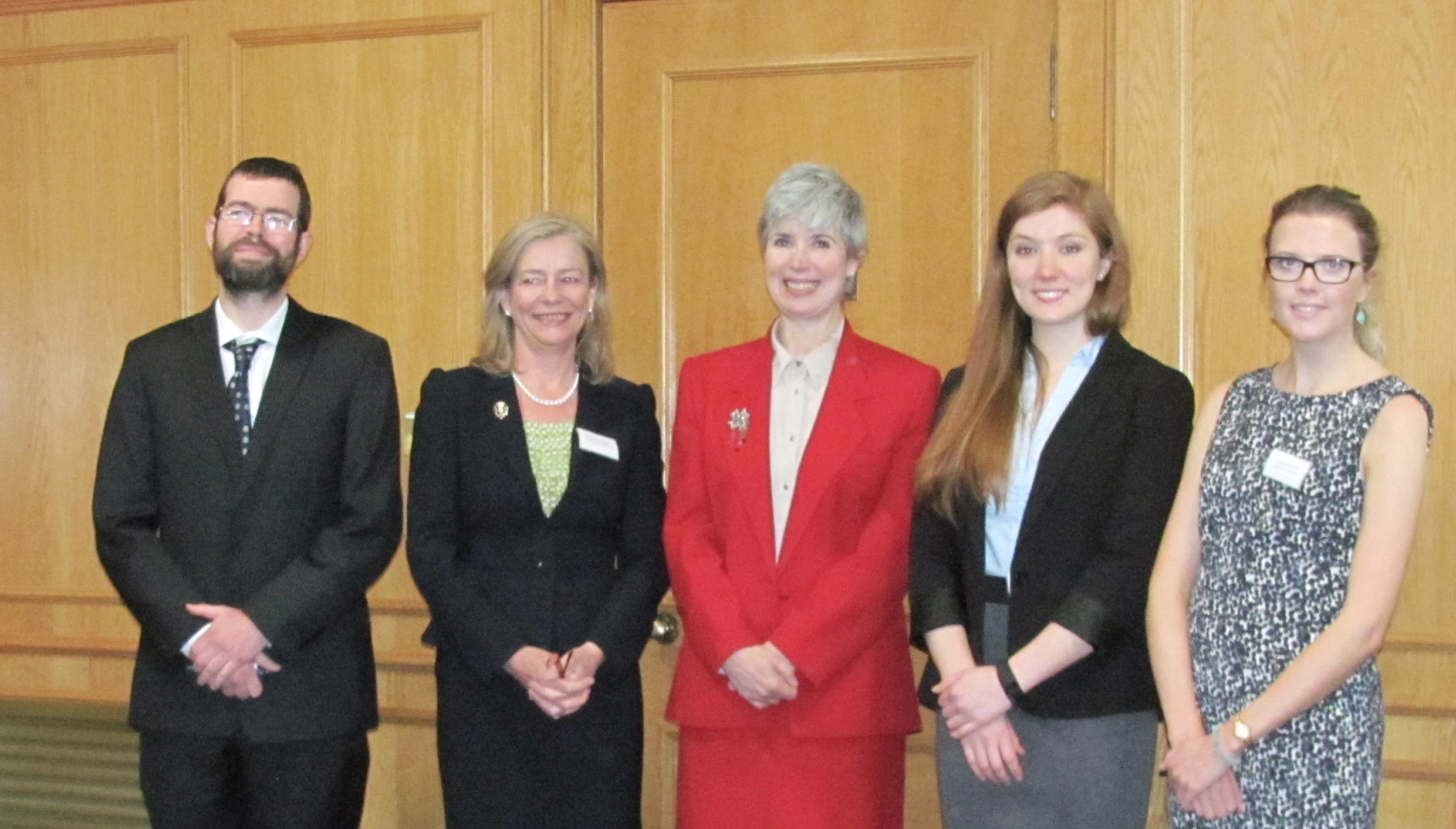 From L: Malcolm Combe (Faculty Director), Christine McLintock (President of the Law Society of Scotland), Anne-Michelle Slater (Head of the School of Law at Aberdeen University), Georgia Fotheringham (Deputy Student Director) and Lindsay McCormick (Student Director).