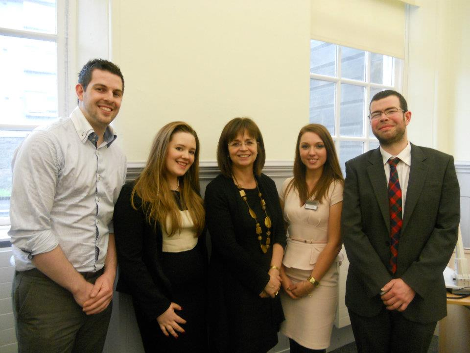 From L: Ryan Whelan, Anna Robertson, Dame Angiolini QC, Jodie Chandler and Malcolm Combe