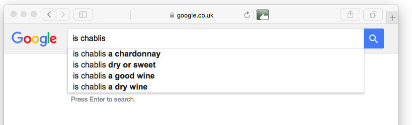 What Google tells us about wine