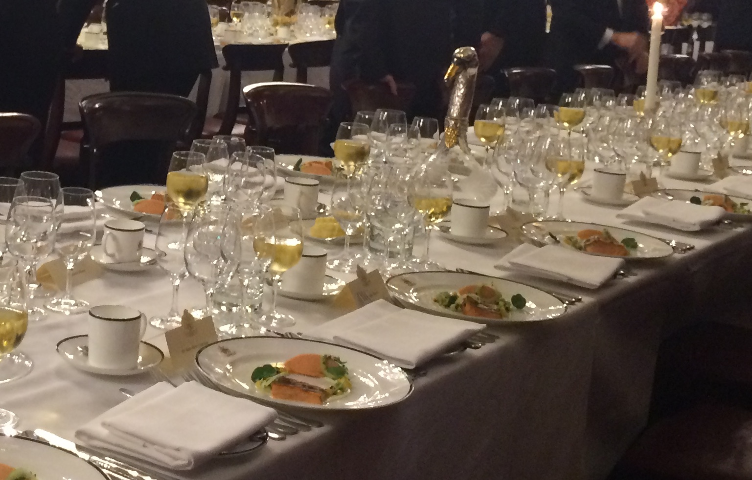 The table set at the beginning of the evening