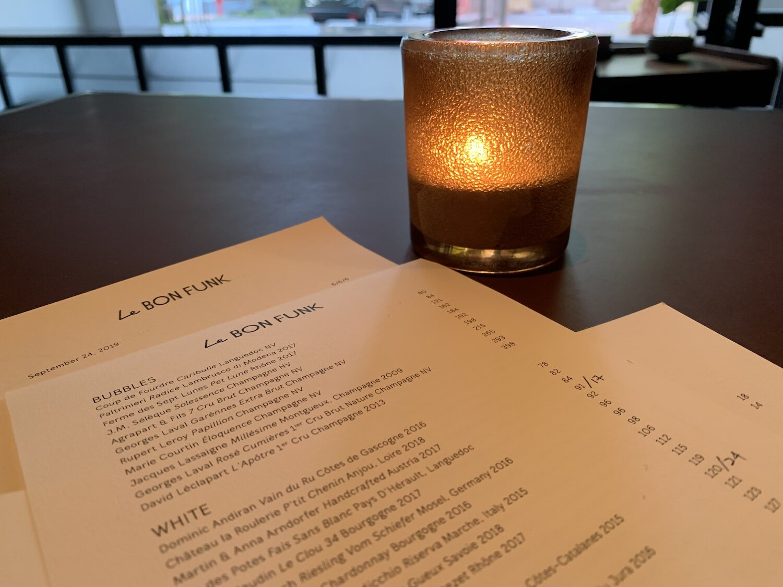 The wine list at Le Bon Funk