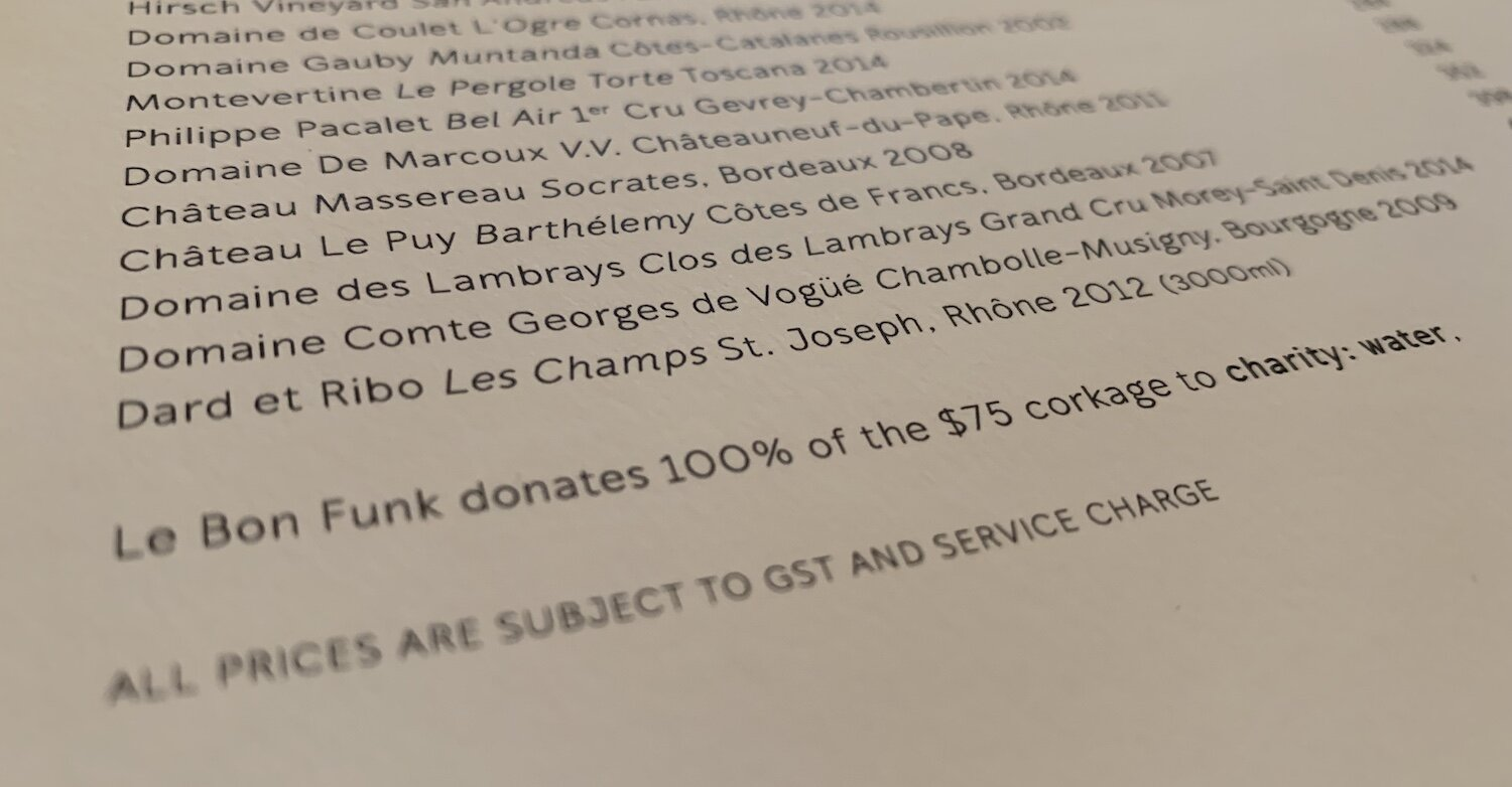Le Bon Funk donate the corkage charge to a water charity