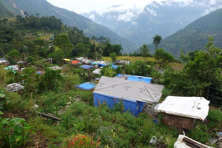 Gati village before and after the earthquake              Image credit: Steffen Judersleben (from charity  Namaste Nepal )