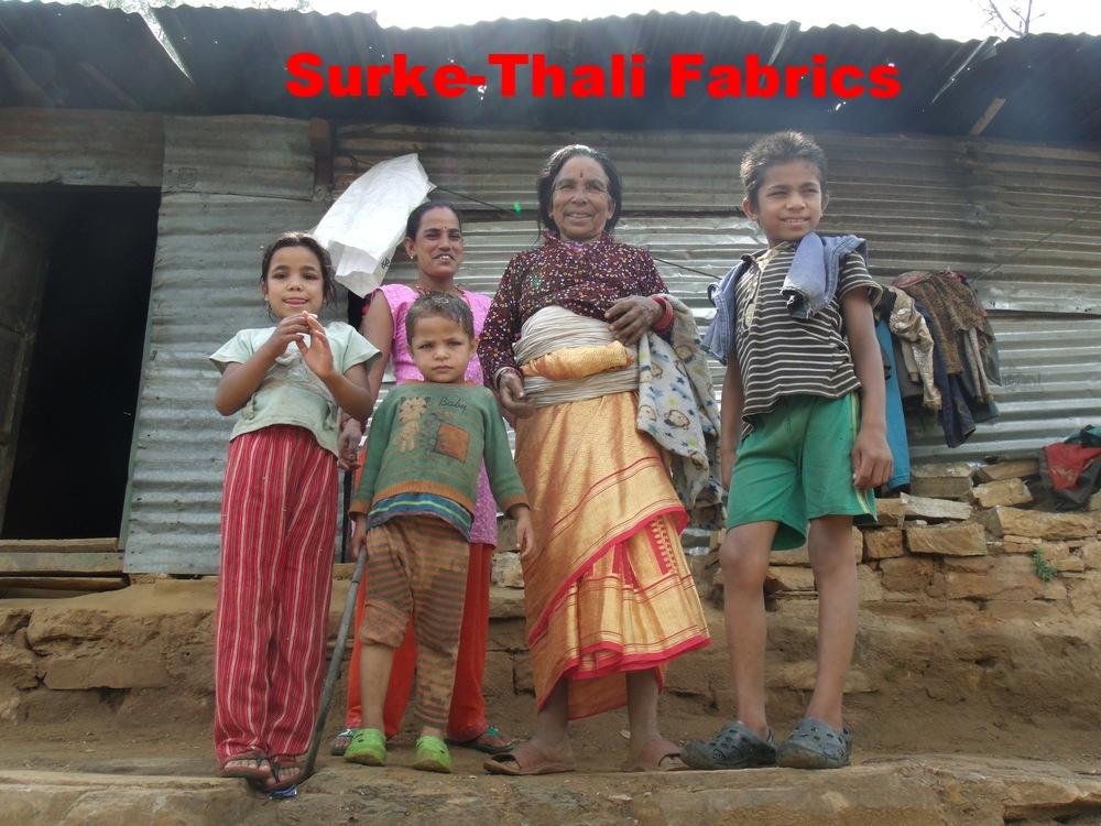 Suku Mia Nepali, her daughter Sita & grand-children, Sandeep, Sabin & Sajina in a 'temporary' shelter.