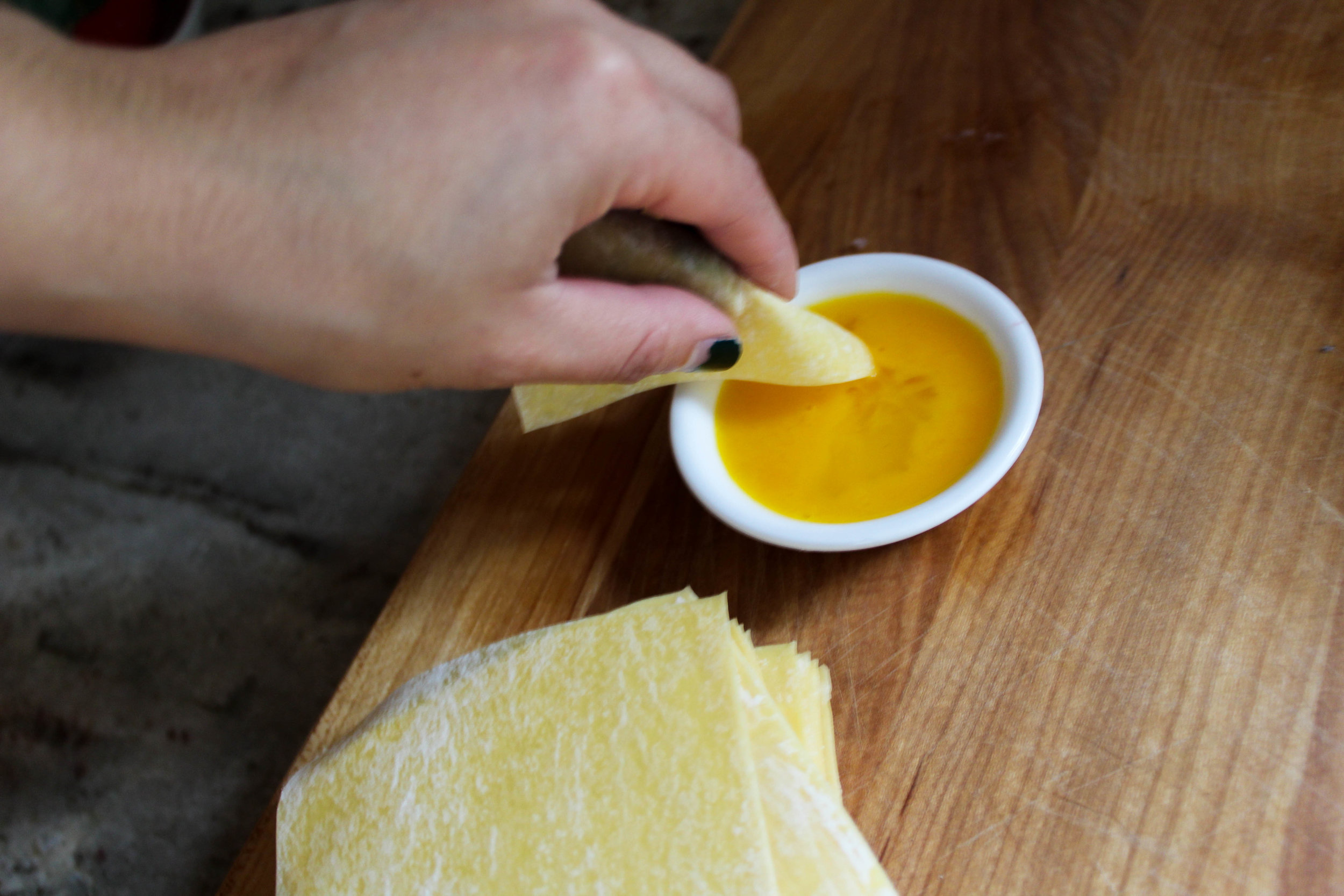 egg yolk for pork and shrimp wontons