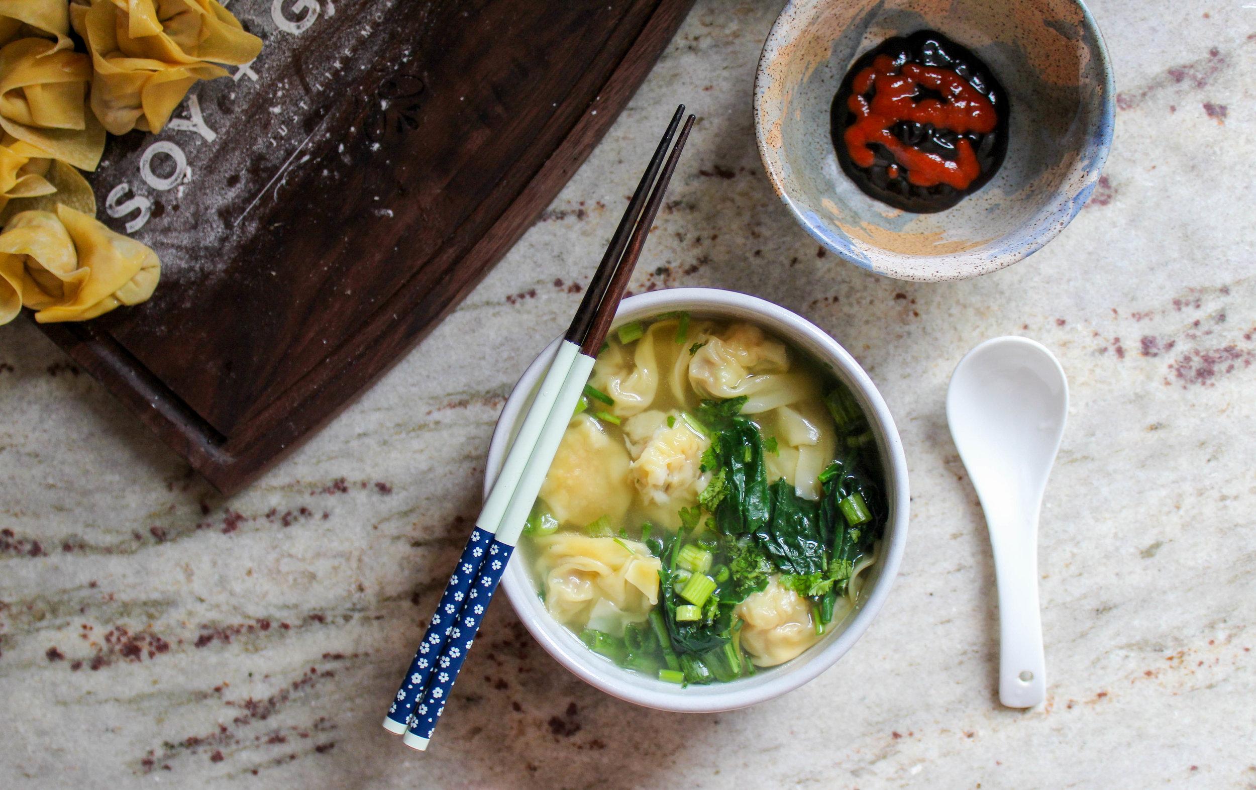 pork and shrimp wonton with tuscan kale