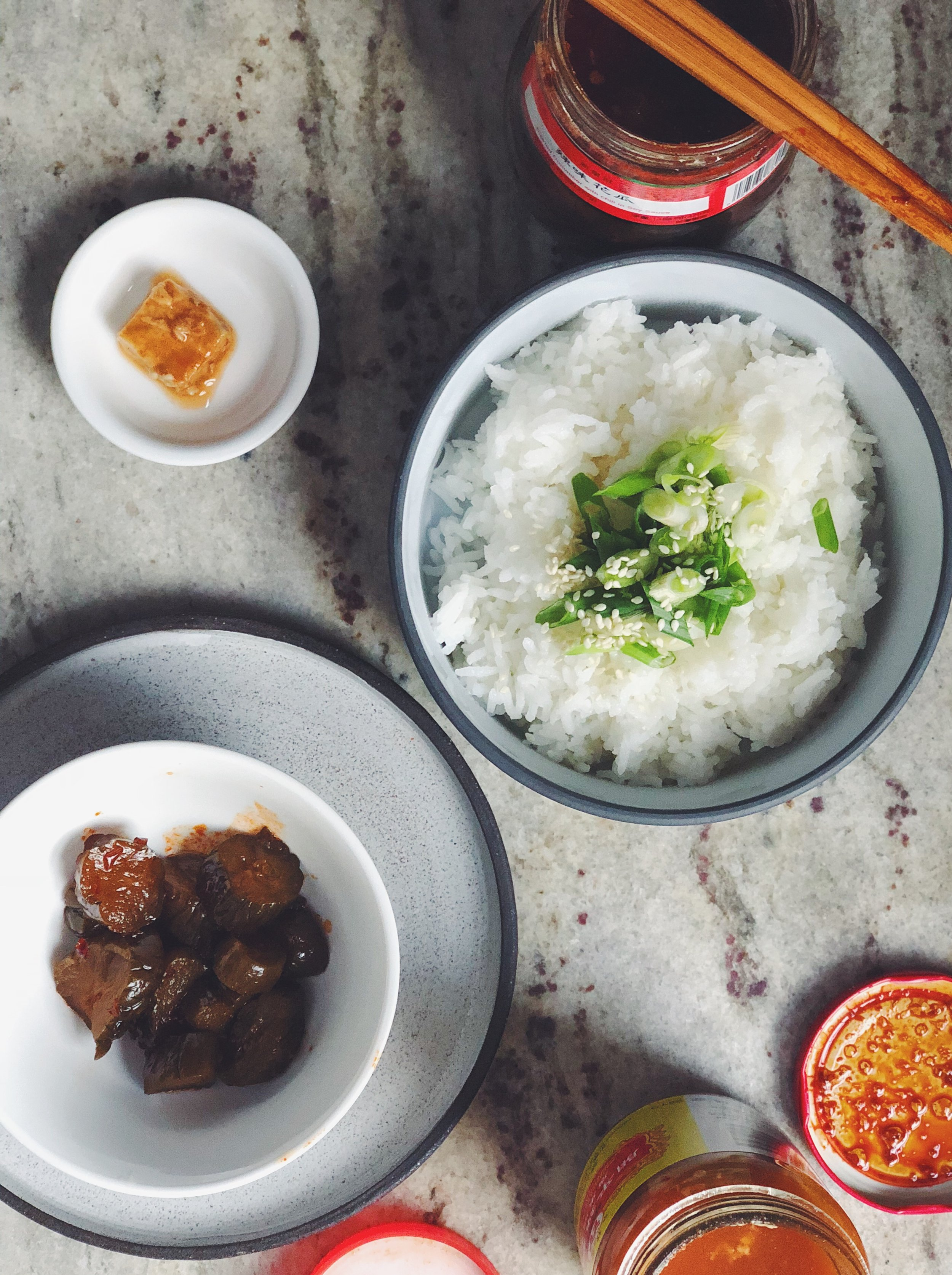 basic congee with pickled veggies