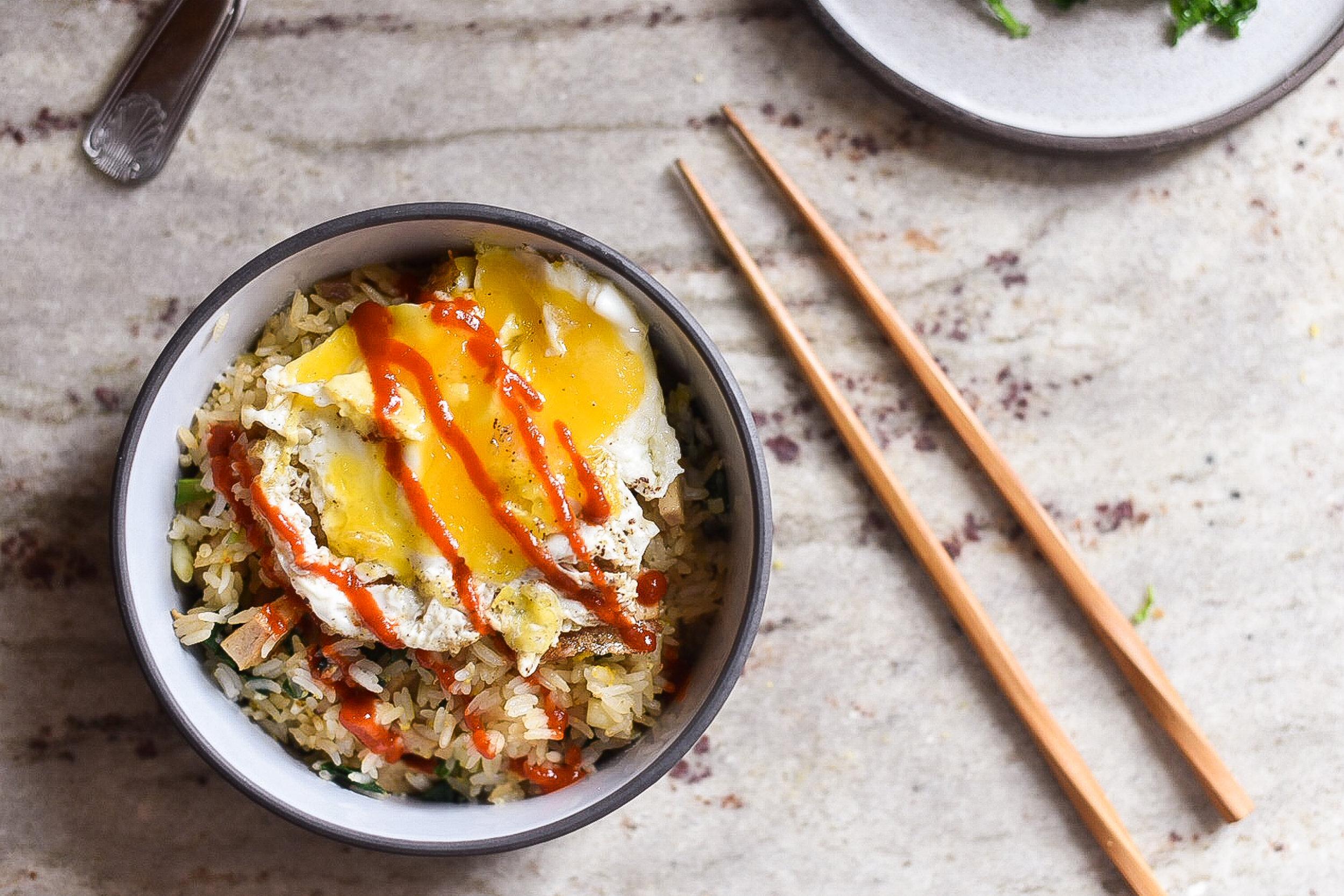 ramp fried rice with turkey eggs