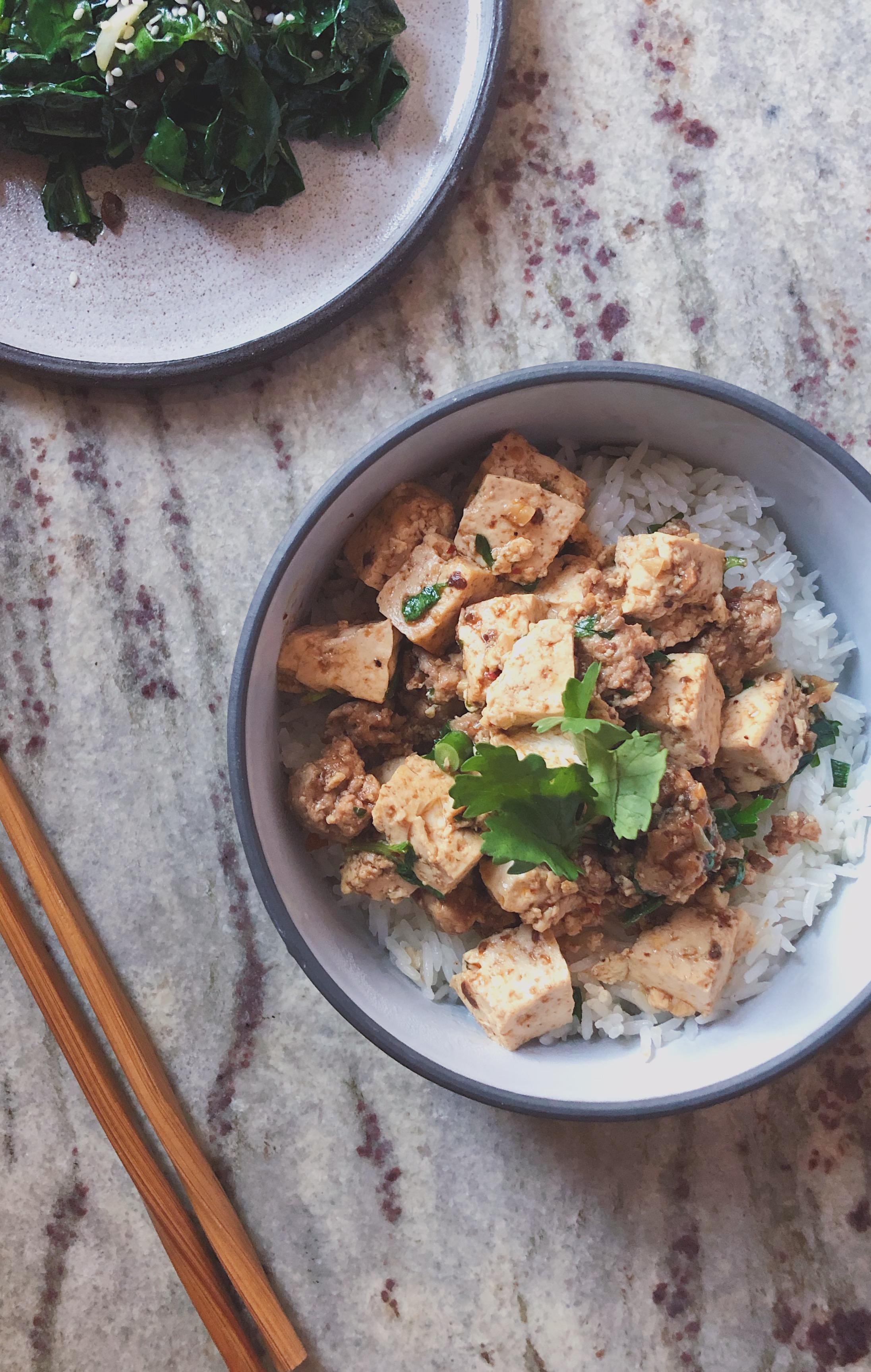 Serving Ma Po Tofu Sichuan