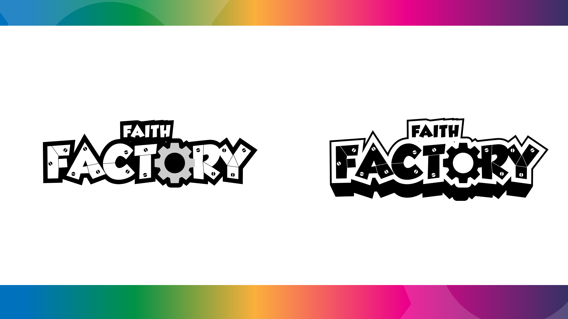 Different variations of the logo in black and white. Showcases the versatility of the design.