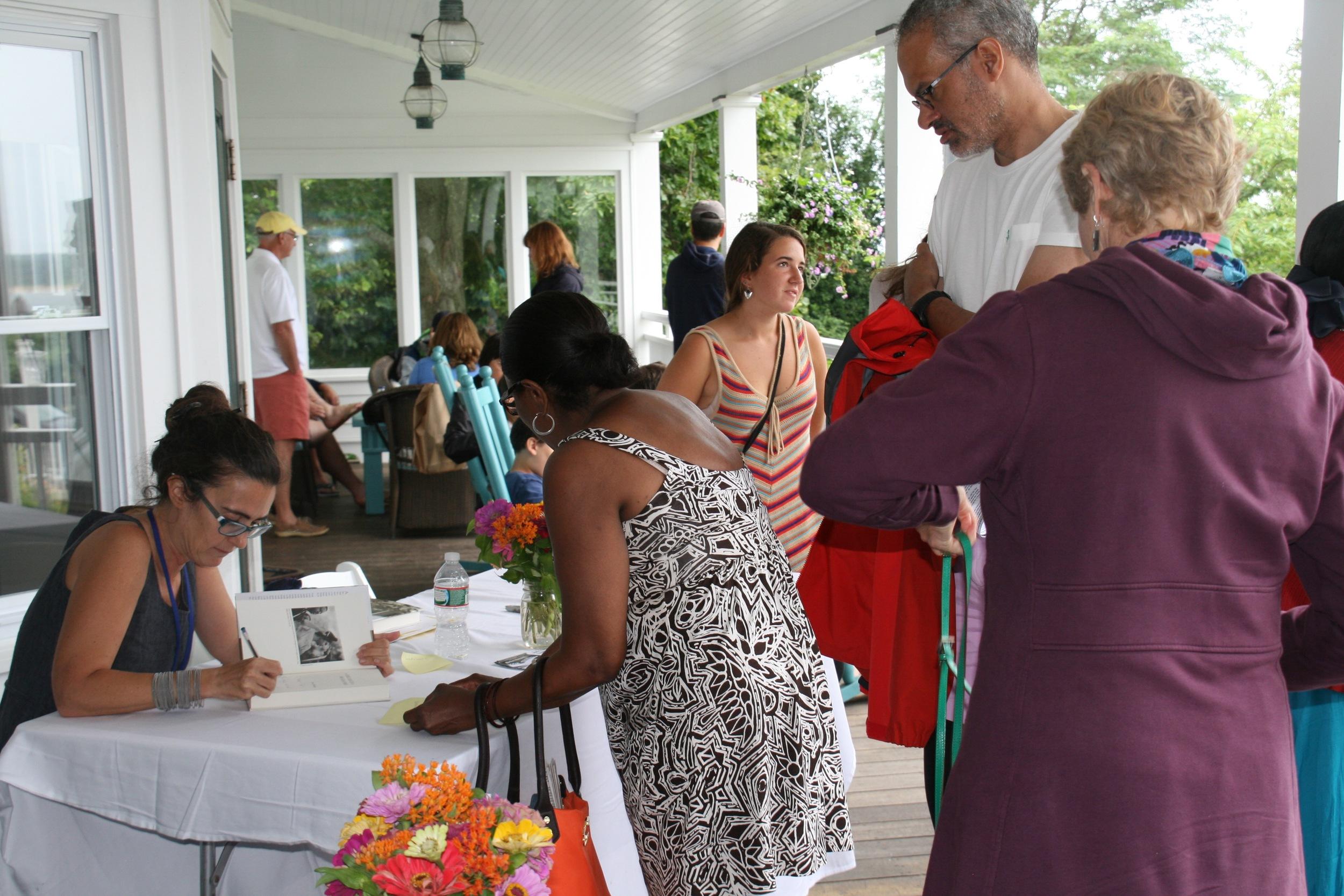 Jeanne Theoharis signing books 2013 Festival in Edgartown, credit W. Lazarus.jpg