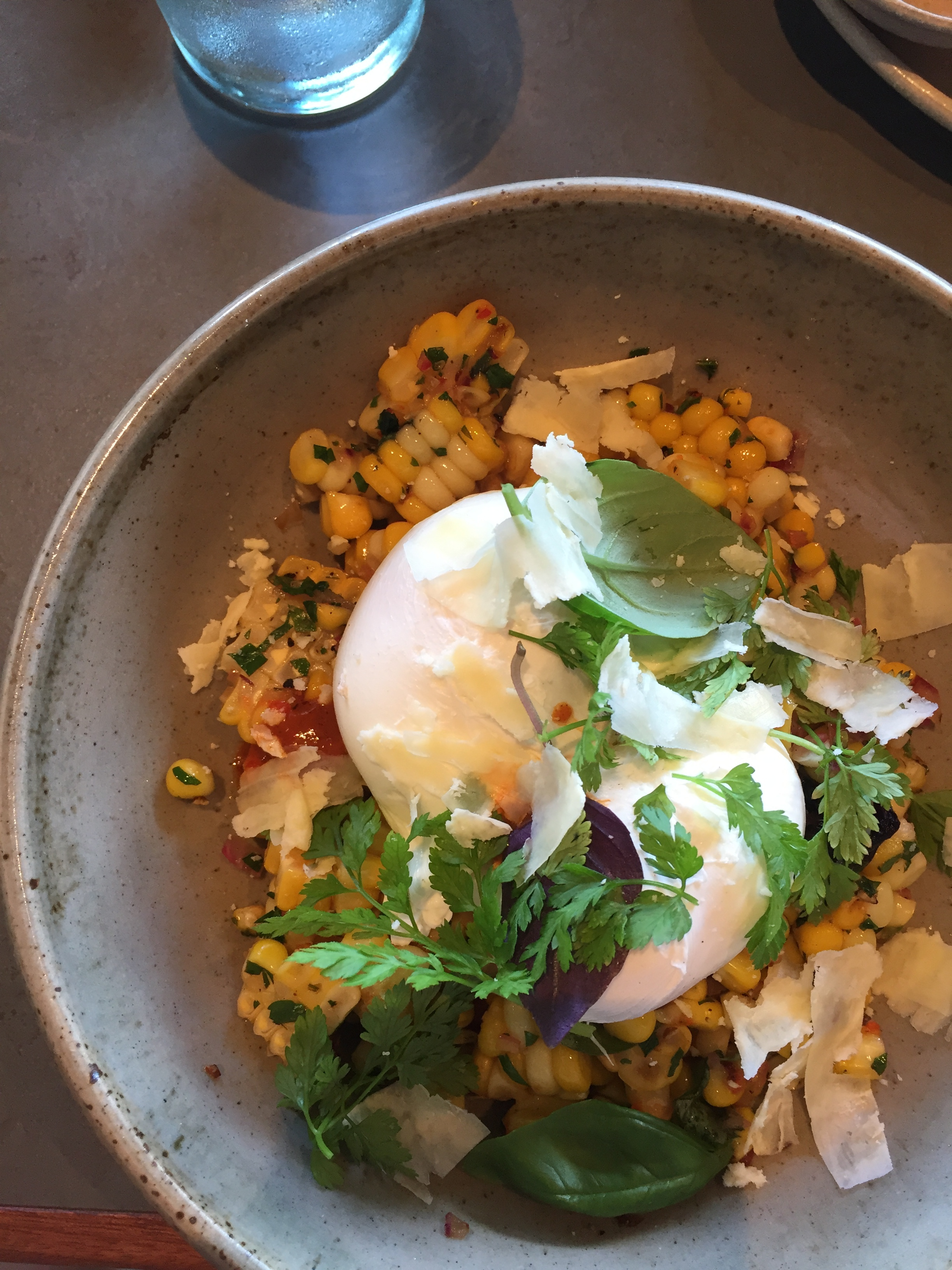 Brunch at Amano: poached eggs and chilies over fresh summer corn