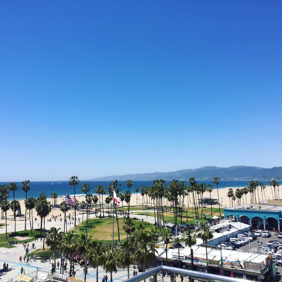 Venice Beach from the rooftop at the  Hotel Erwin