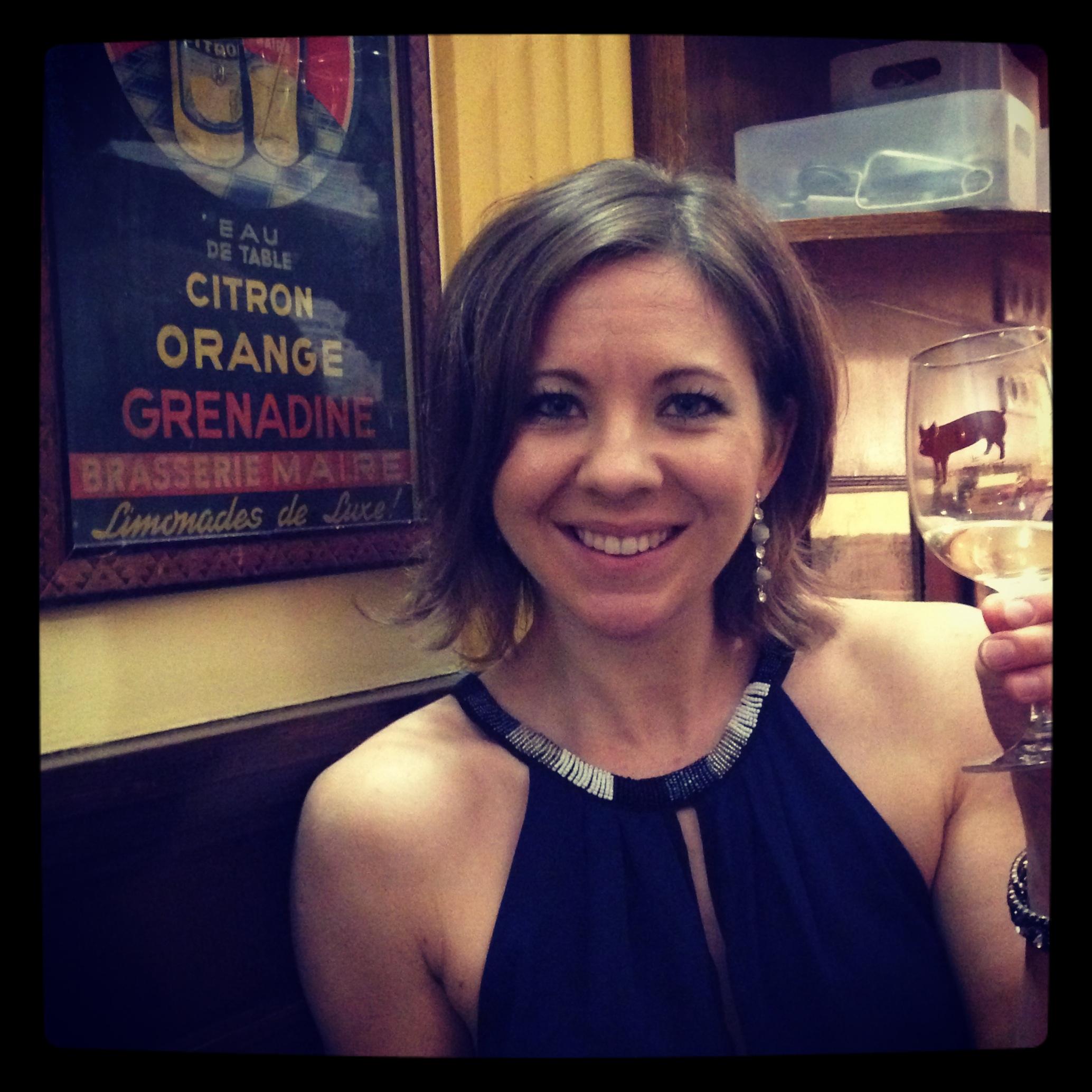 In Paris, drinking good wine.