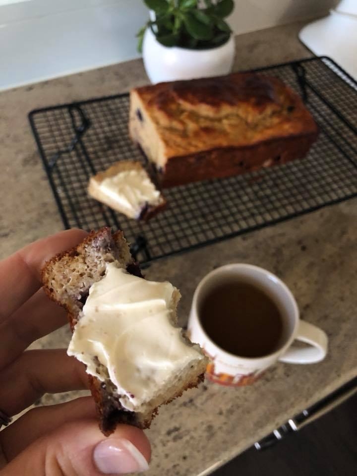 My mom always puts Neufchatel (aka light cream cheese) on her banana bread and I don't see any reason not to carry on this tradition, okay?! Add a mug of coffee for a pretty kick-ass combo.