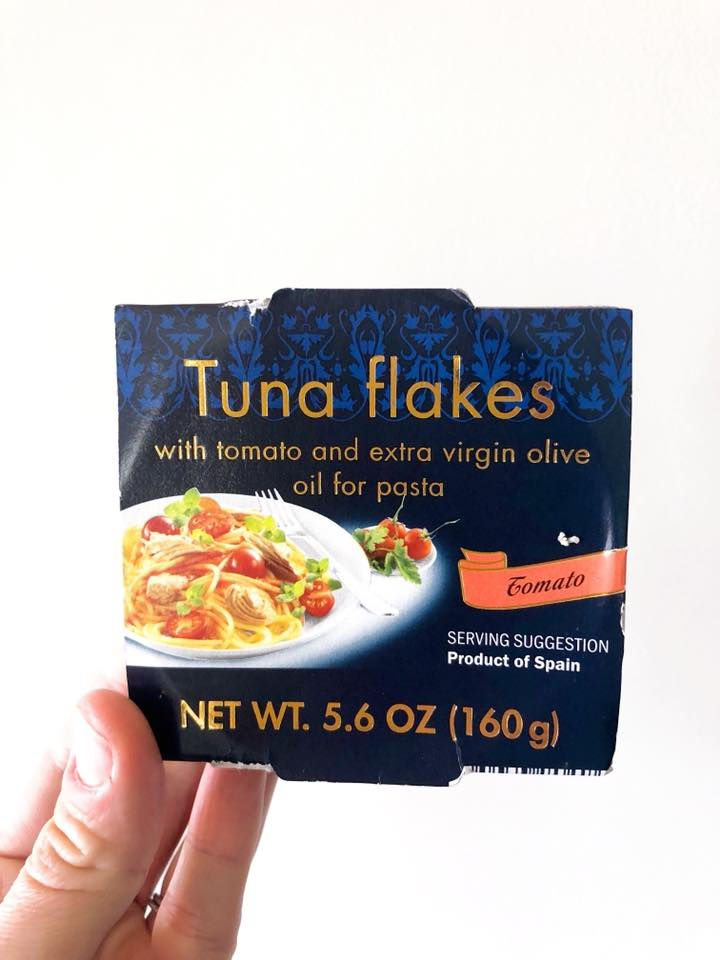 Mr. FLF and I wandered into a weird discount grocery store called Lidl one weekend and found a little section of Spanish foods. I snagged some jars of olives and this ^^^. Any canned tuna in olive oil will work, but bonus if you can find one from Spain.