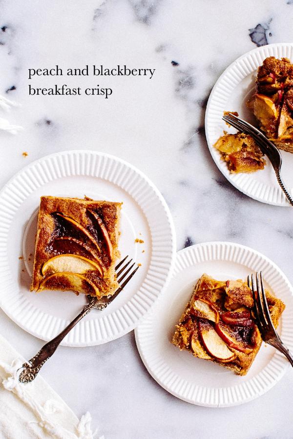 peach and blackberry breakfast crisp