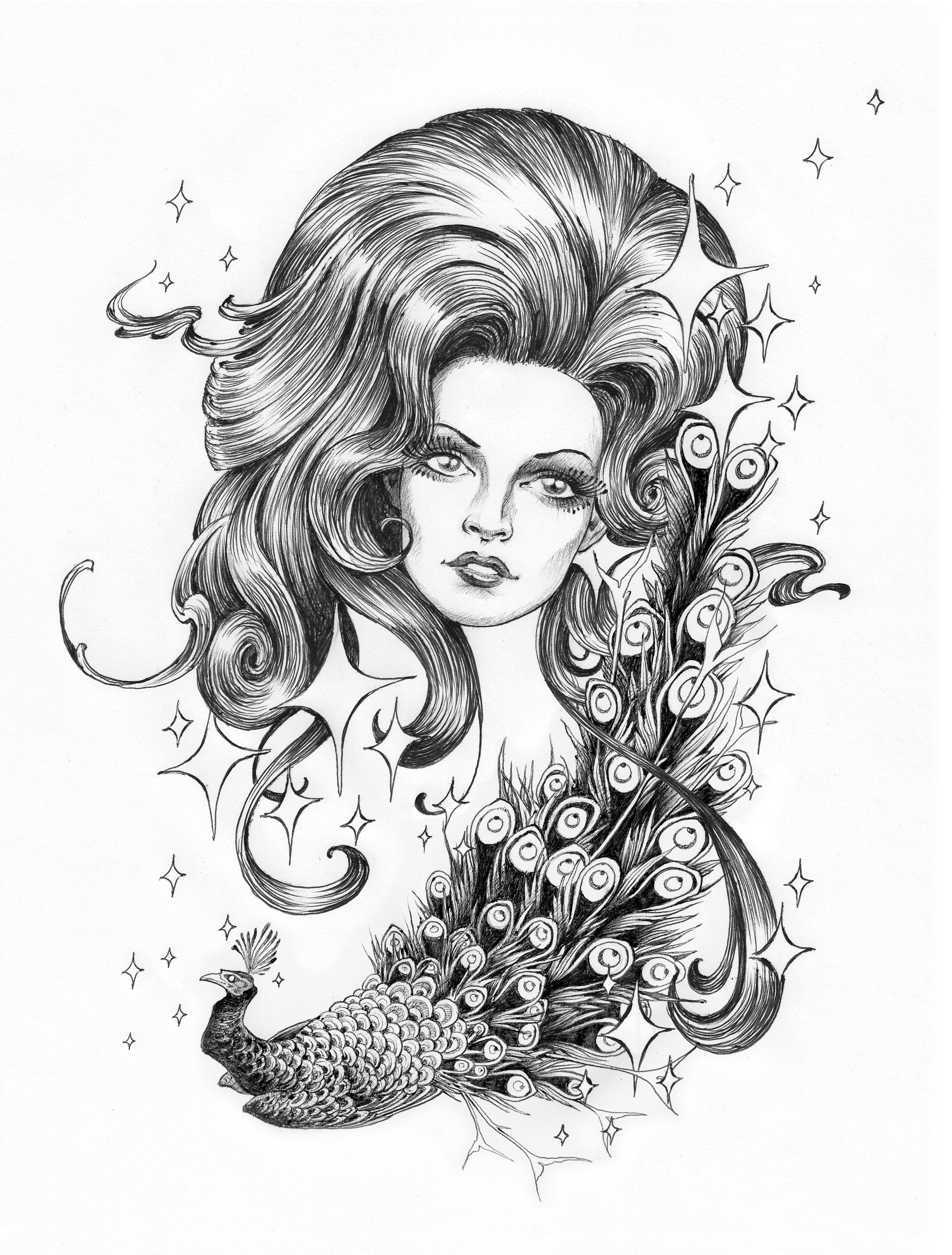 Big Hair.  2015 - ballpoint on paper.