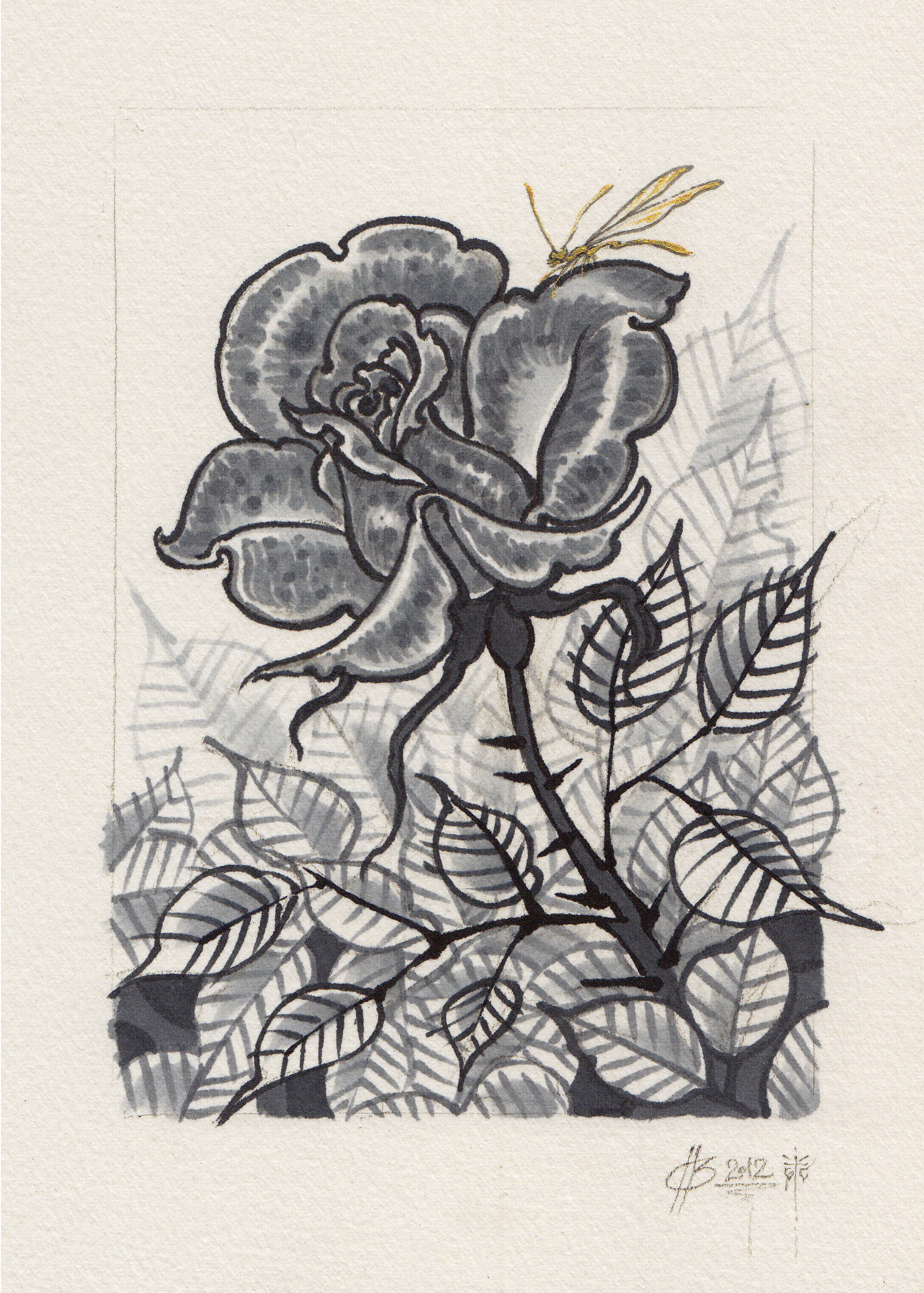 "Untitled (rose and insect).  2012 - ink on paper. 5"" x 7""."