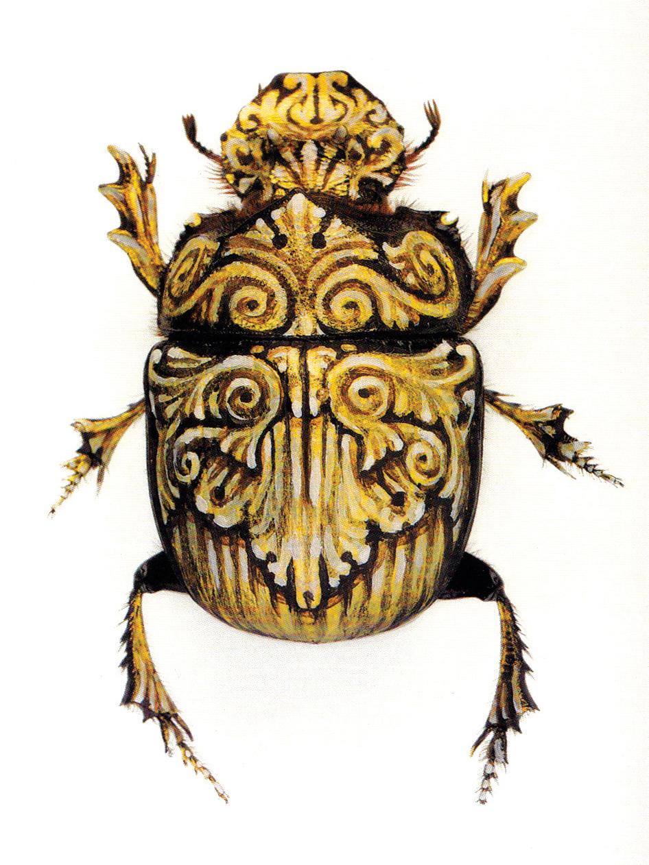 """Her Majesty.  2005 - acrylic on beetle. 2"""" x 1""""."""