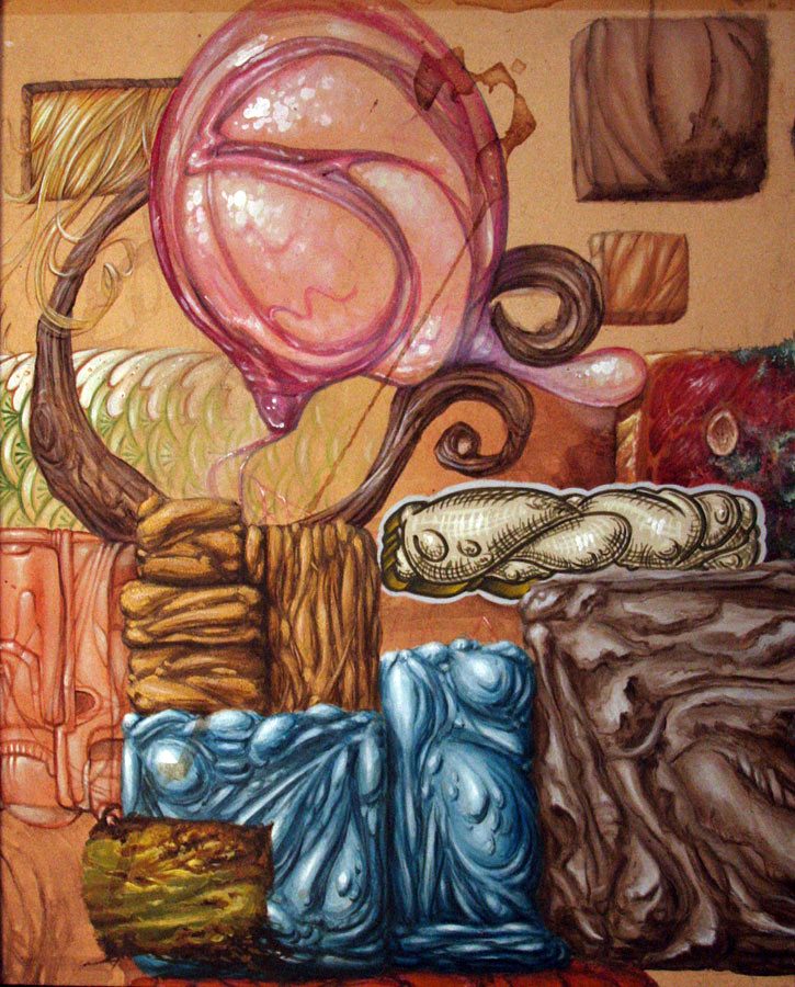 "Evan Skrederstu & Christopher Brand. A bit of everything . 2005 - acrylic on board. 13"" x 10""."