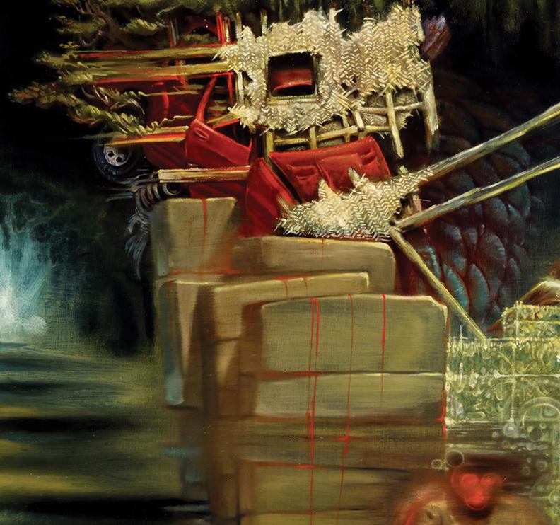Christopher Brand & Evan Skrederstu. Untitled (tanuki at night). Detail.2014 - oil on wood. 4' x 2'.
