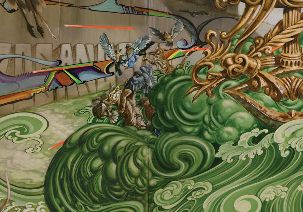 Christopher Brand, Evan Skrederstu, Espi, Jose Lopez, Steve Martinez, Tank& Sunny Phono. Flashback. Detail.2010 - acrylic on board. 4' x 8'.