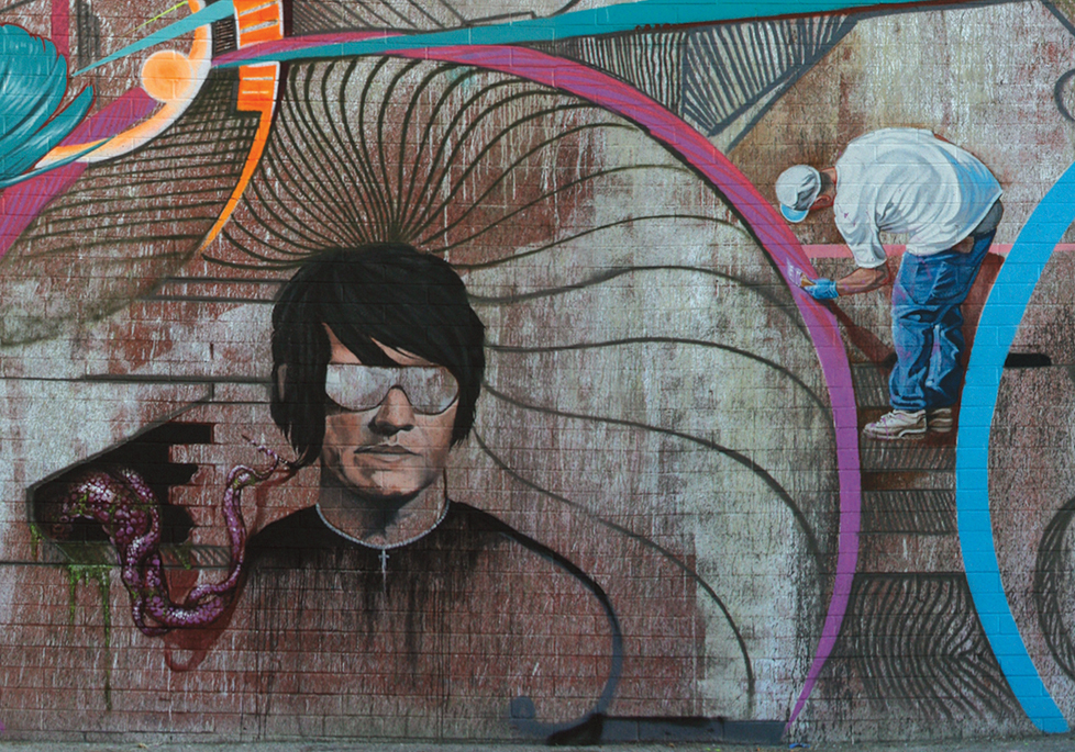 Evan Skrederstu, Christopher Brand, Jose Lopez, Steve Martinez & Sergio Diaz. Spring Street - Downtown Los Angeles, CA. Detail. 2011.