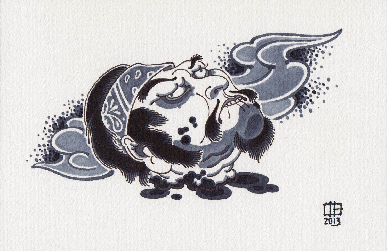 Cabeza Cortada (Flash).  2013- ink on paper