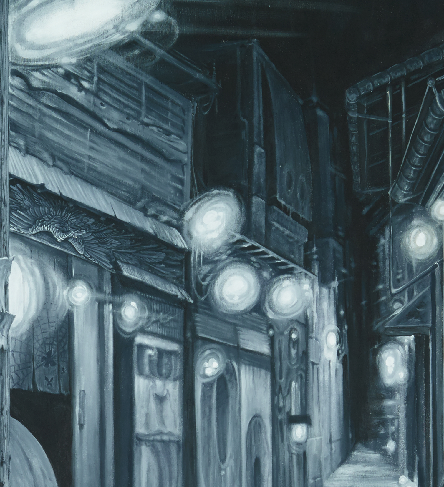 Christopher Brand, Espi, Evan Skrederstu & Steve Martinez. Yokai Street . Detail. 2014 - acrylic on canvas. 6' x 8'.