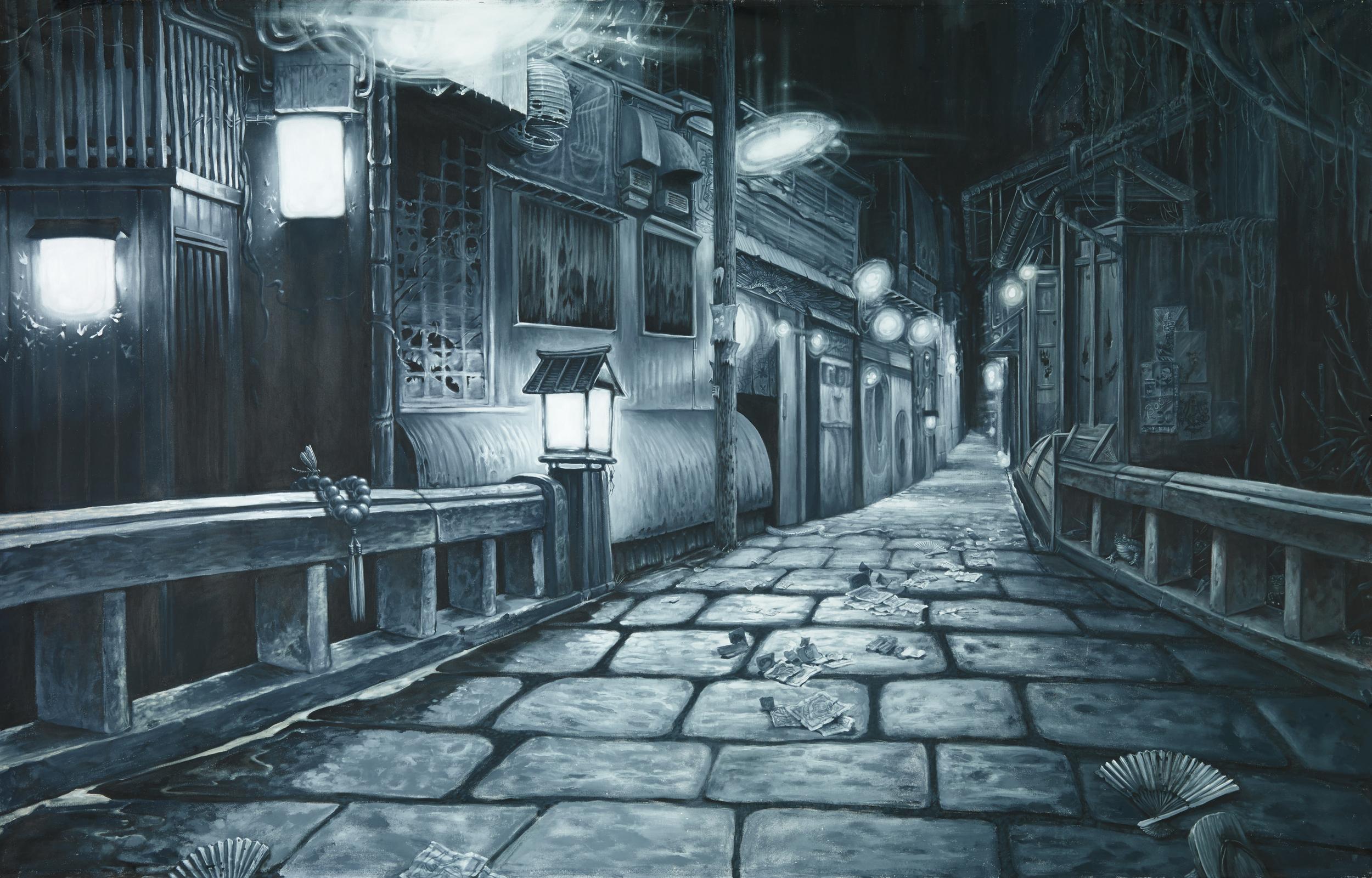 Christopher Brand, Espi, Evan Skrederstu & Steve Martinez. Yokai Street . 2014 - acrylic on canvas. 6' x 8'.