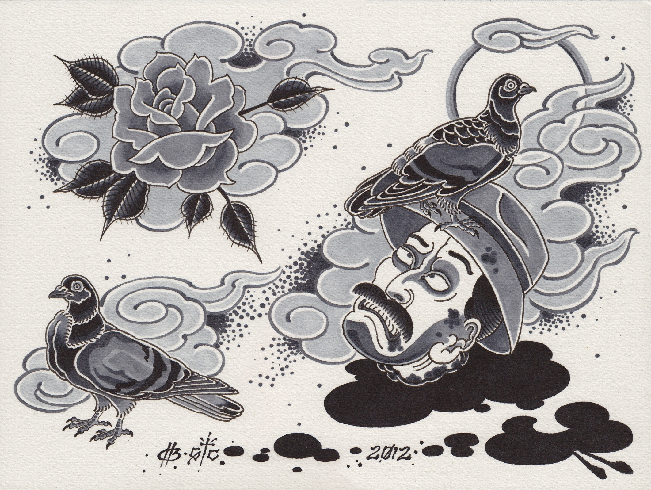 "Severed heads of the loved and the hated: 108 Heroes of Los Angeles.  2012 - ink on paper. 9"" x 12""."