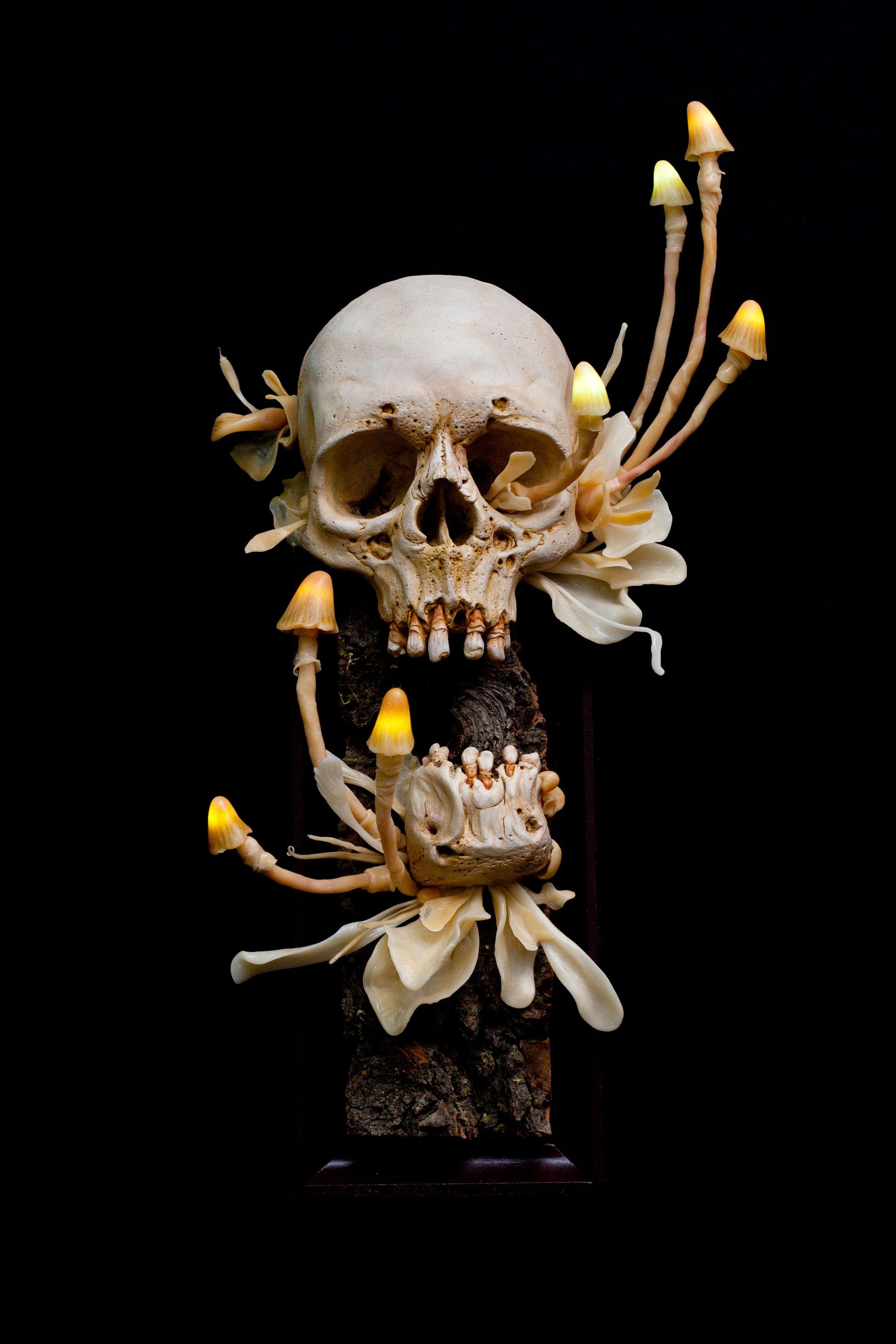 "Untitled (Sconce).  2015 - epoxy clay, plastic, wood, LED lights. 13"" x 6.5""."