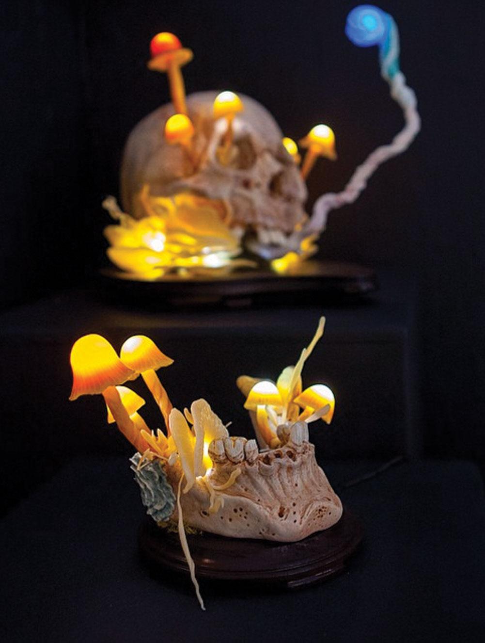 "Nozarashi Lamp.  2014 - epoxy clay, plastic, acrylic and LED lights. 9"" x 7"" x 10""."