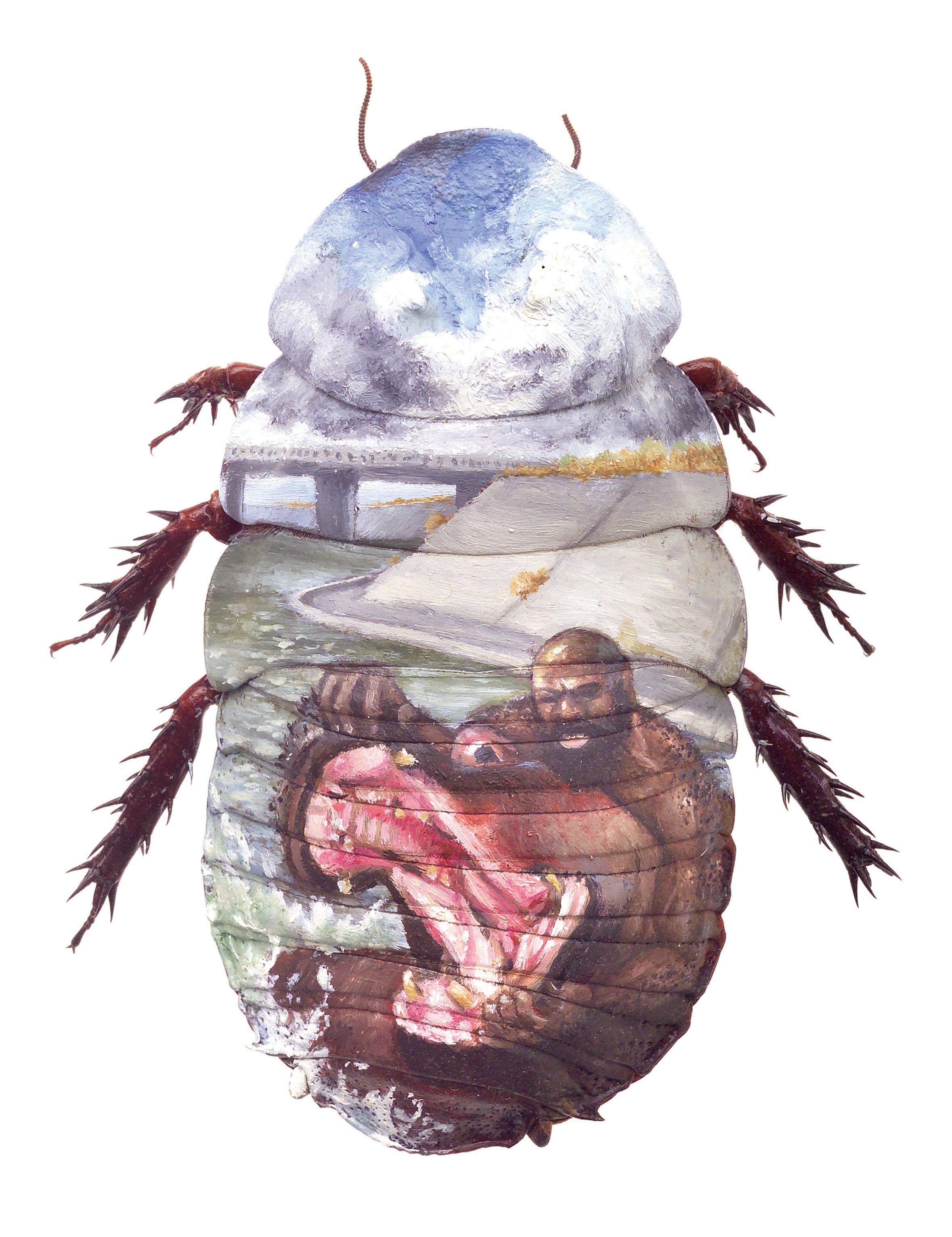 "Evan Skrederstu & Christopher Brand. Kimbo versus the River. 2007 - oil on roach. 3"" x 1.5""."