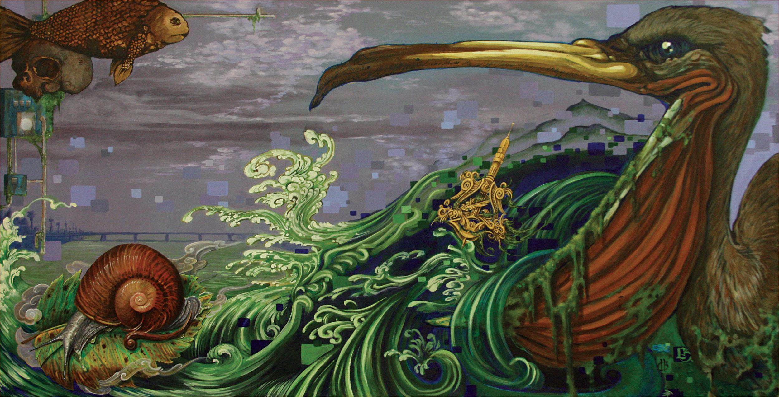 Christopher Brand, Evan Skrederstu, Espi & Steve Martinez. It Flows. 2009 - acrylic on board. 2' x 4'.