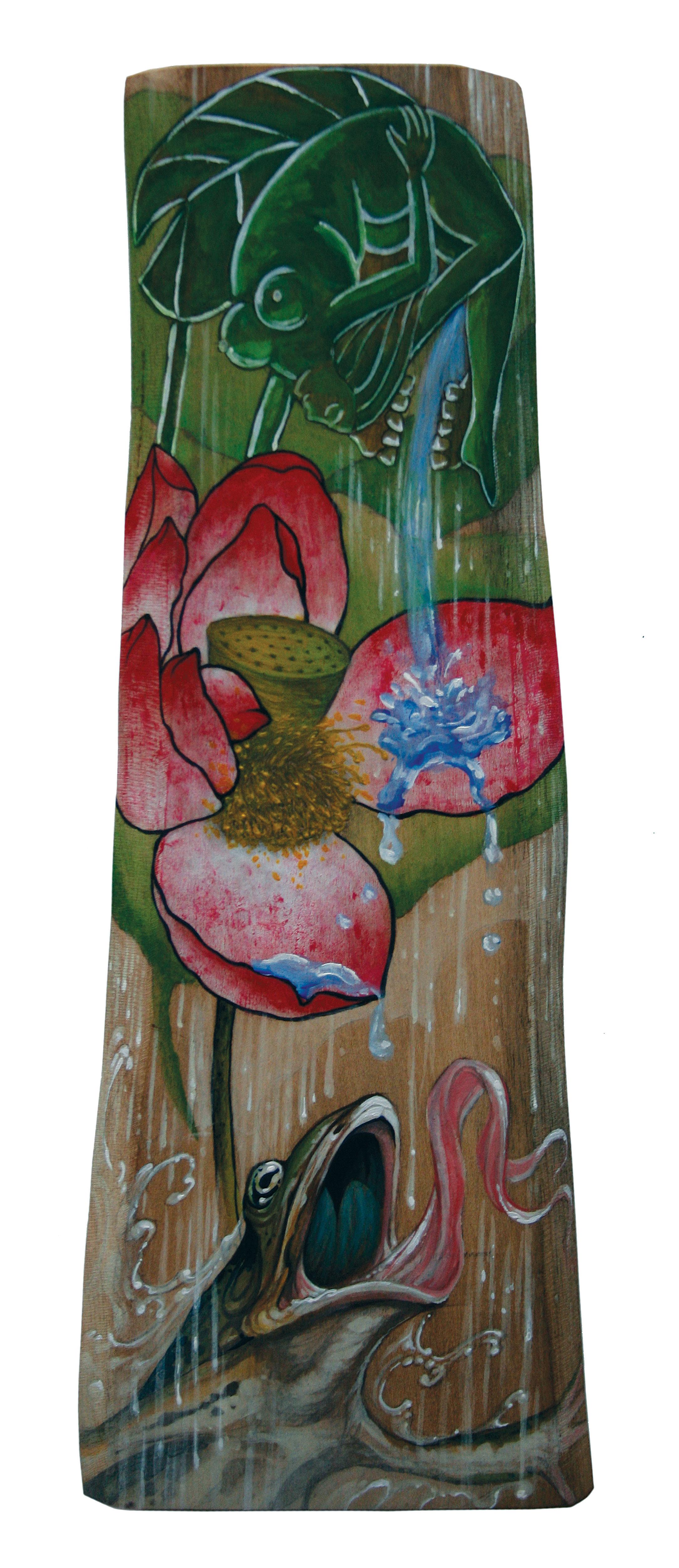 "Christopher Brand, Horiken & Horitaka. Untitled (collaboration). 2010 - acrylic on wood. 12"" x 5""."