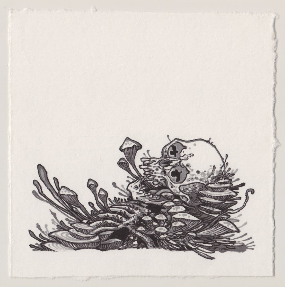 "Untitled (life and death).  2015-ink on paper. 7""x 7"""
