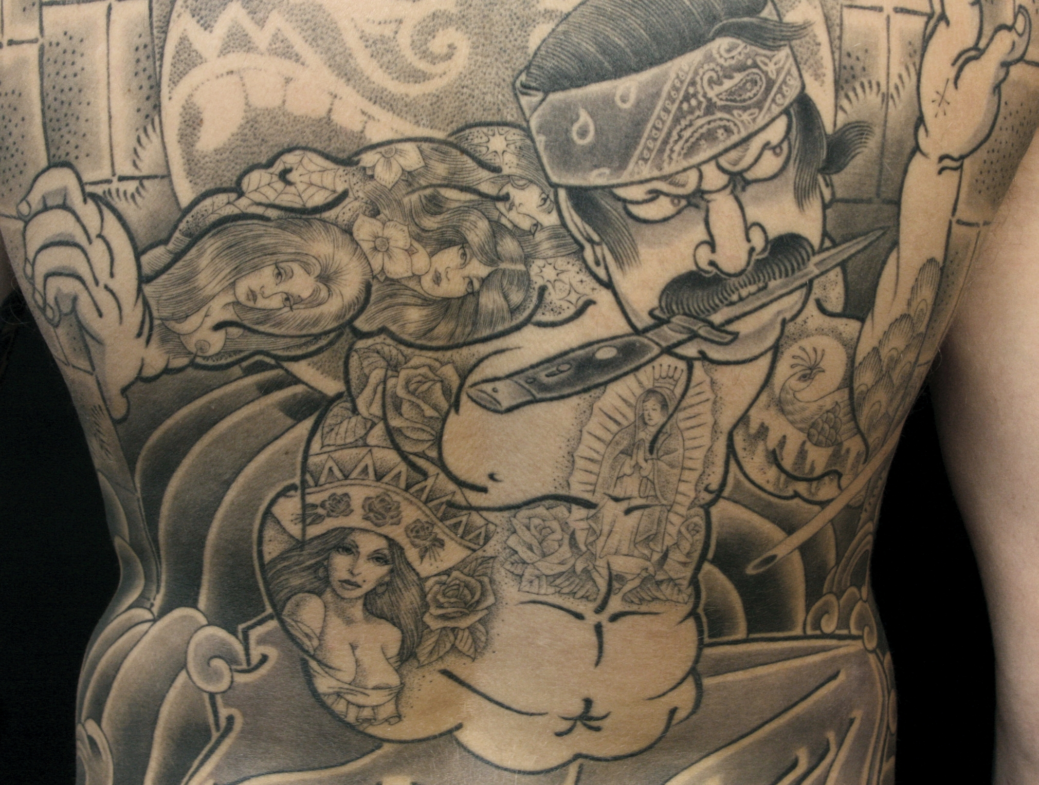 """Big Huero's"" Swan Song: 108 Heroes of Los Angeles.  Single Needle Details. Charra tattoo by Jack Rudy- 2007"